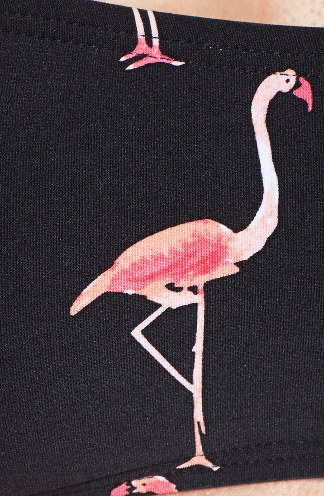 'playa flamingo' bandeau bikini top,                             Alternate thumbnail 4, color,                             001
