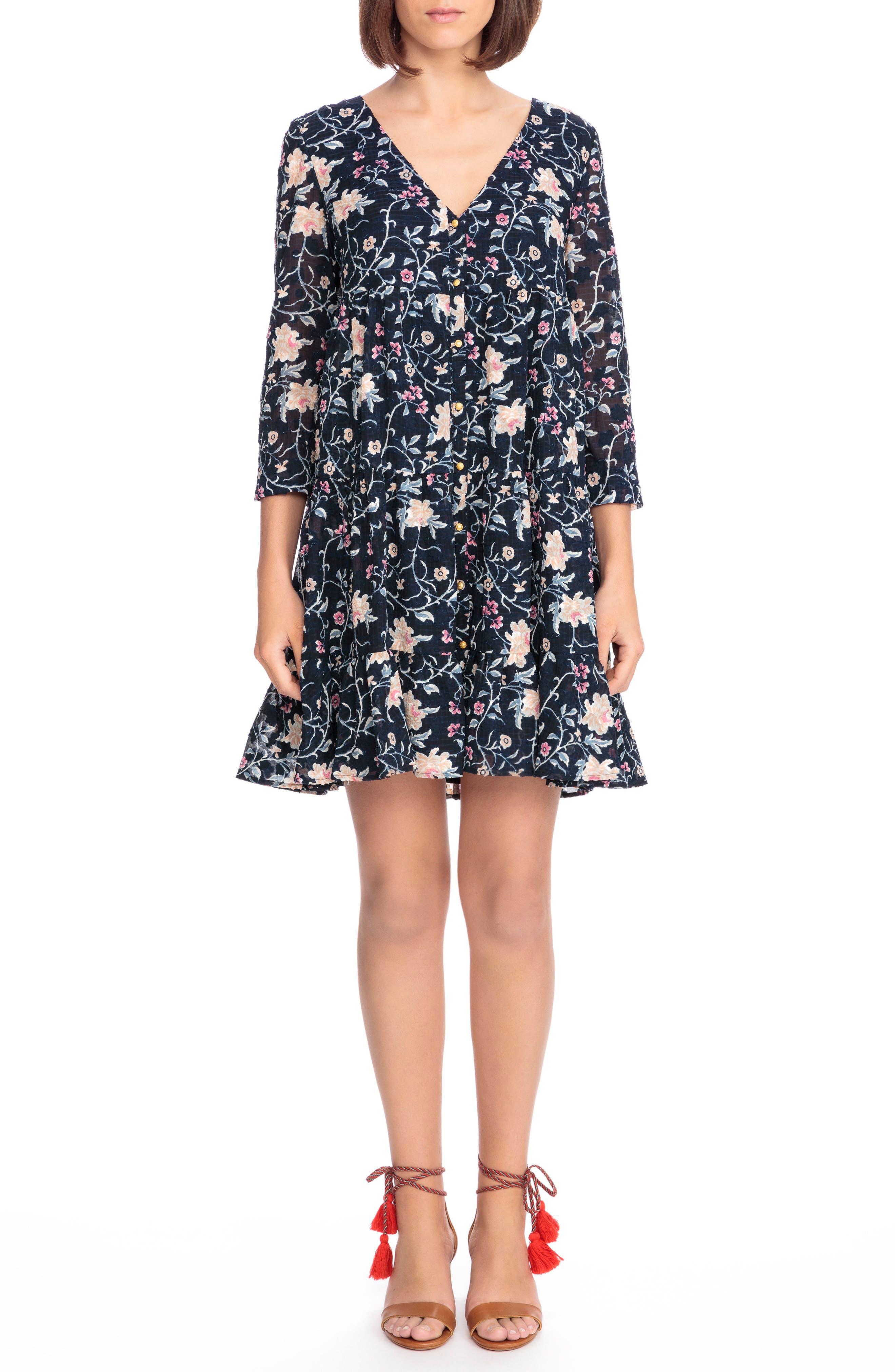 Aure Silk A-Line Dress,                             Main thumbnail 1, color,