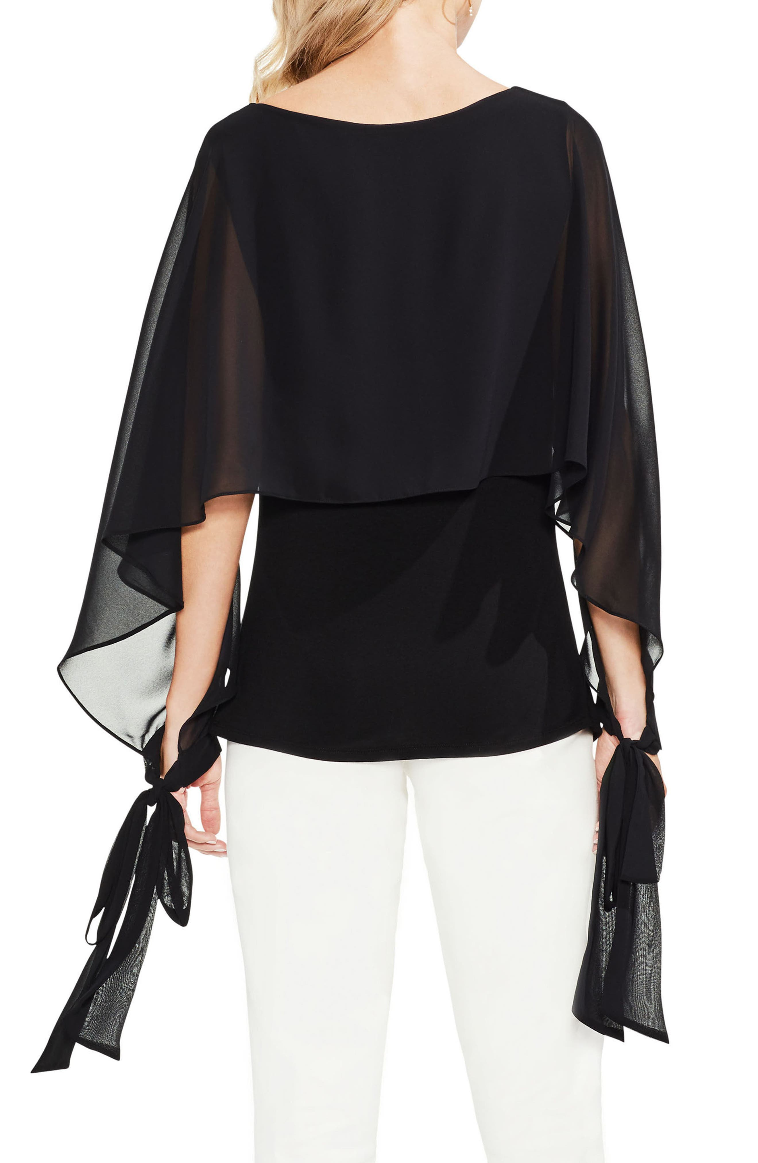 Tie Cuff Chiffon Overlay Blouse,                             Alternate thumbnail 3, color,