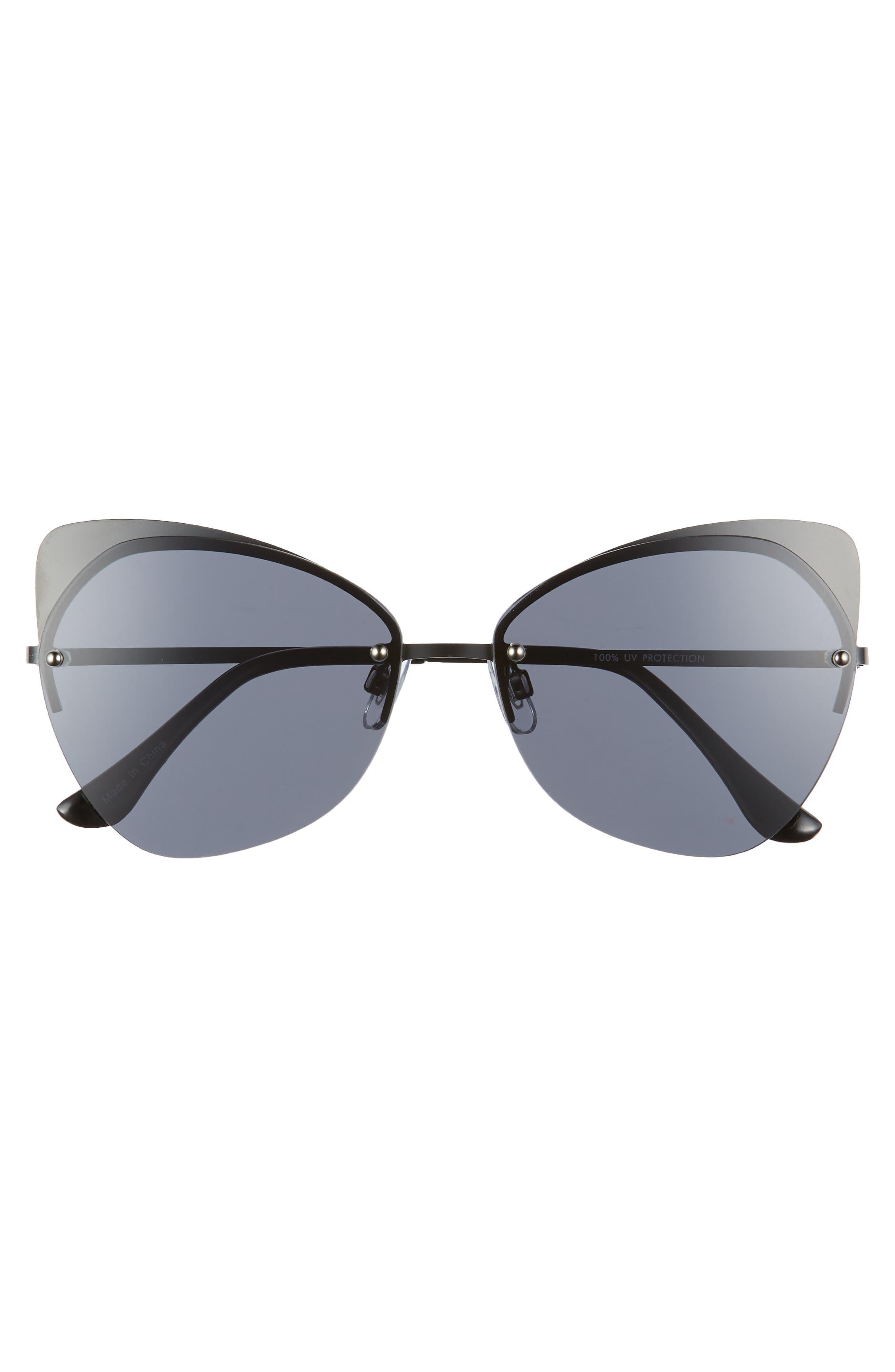59mm Rimless Cat Eye Sunglasses,                             Alternate thumbnail 3, color,                             001