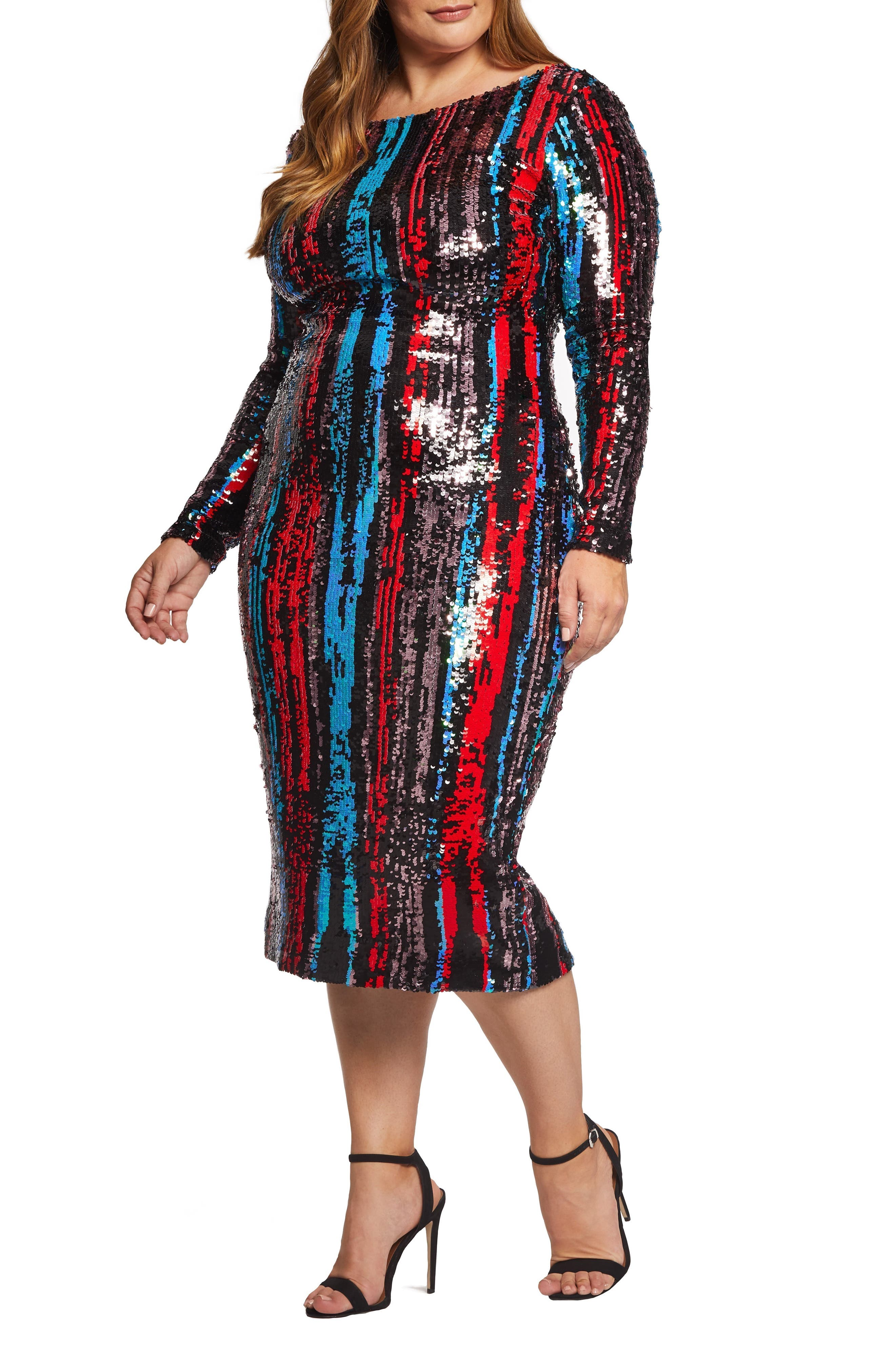 Emery Sequin Body-Con Dress,                         Main,                         color, ROUGE RED MULTI
