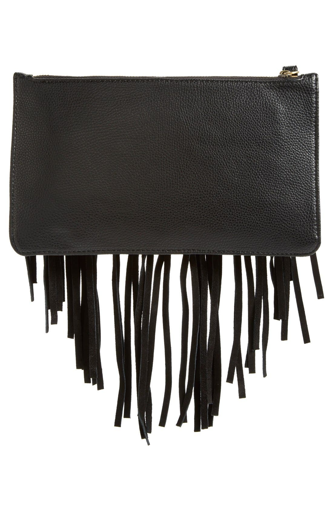 Suede Fringe Clutch,                             Alternate thumbnail 3, color,                             001