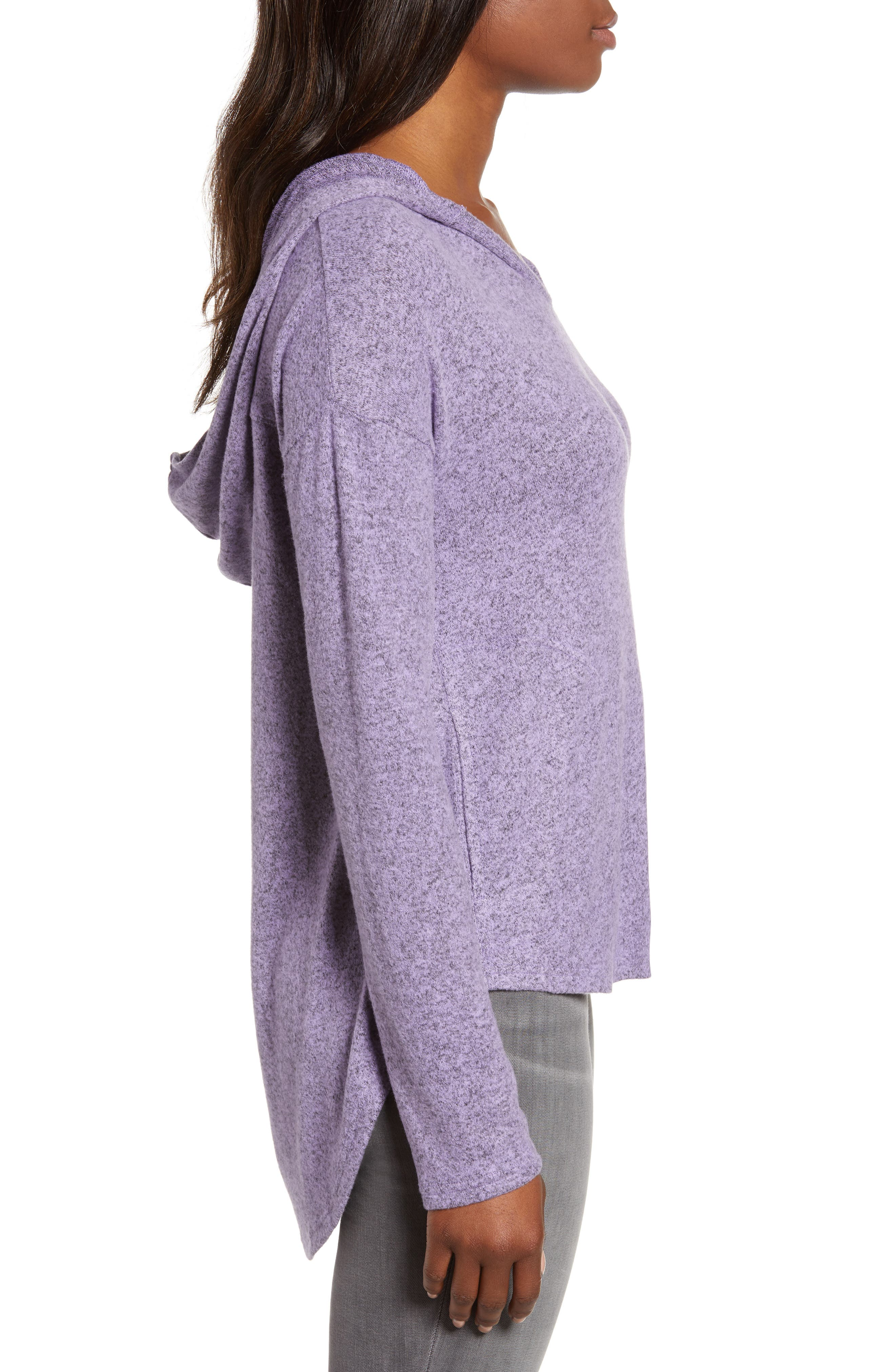 Cozy High/Low Hoodie,                             Alternate thumbnail 3, color,                             PURPLE BETTA