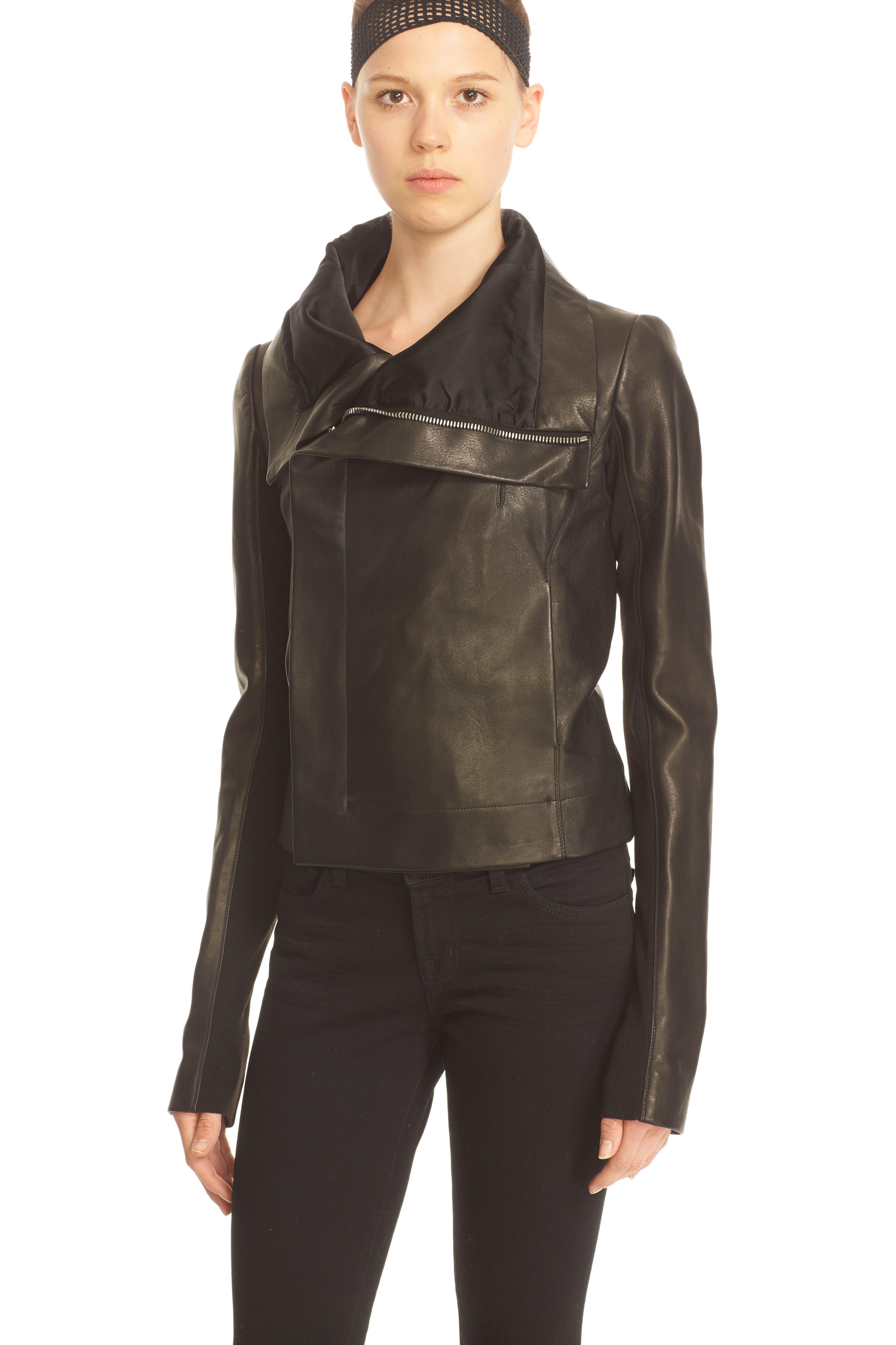 RICK OWENS,                             'Clean' Leather Biker Jacket,                             Alternate thumbnail 5, color,                             001