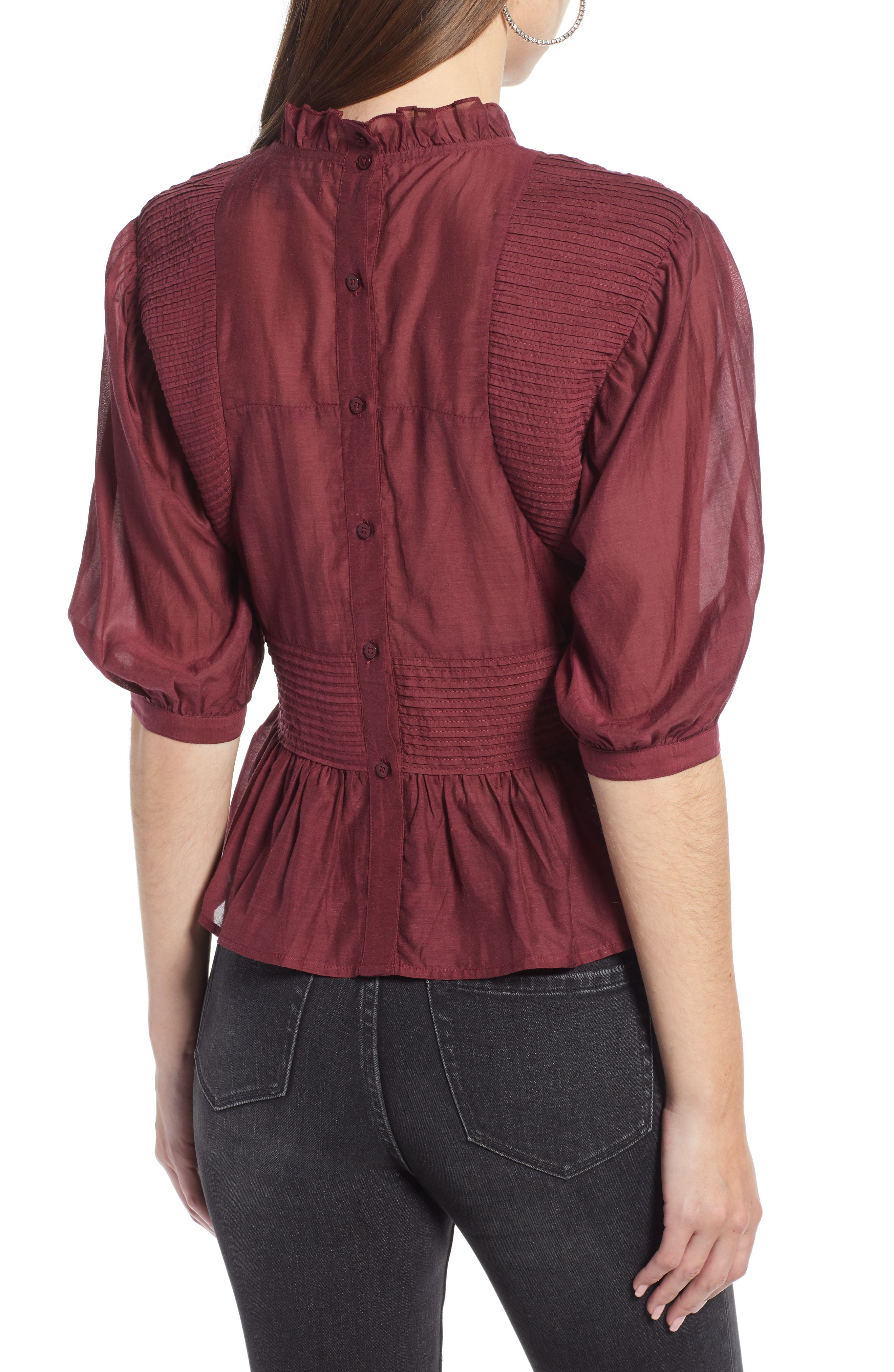 Pleated Peplum Top,                             Alternate thumbnail 2, color,                             RED TANNIN