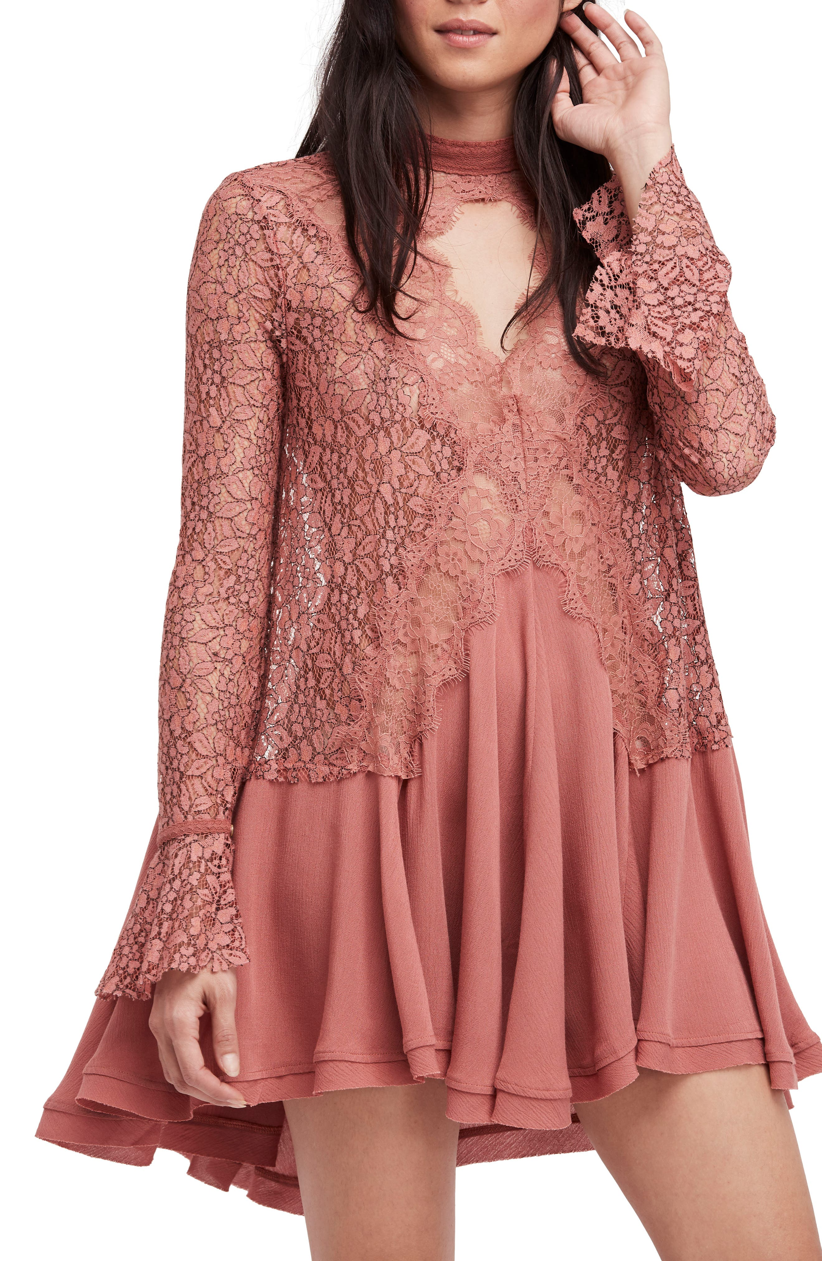 FREE PEOPLE New Tell Tale Lace Minidress, Main, color, 605