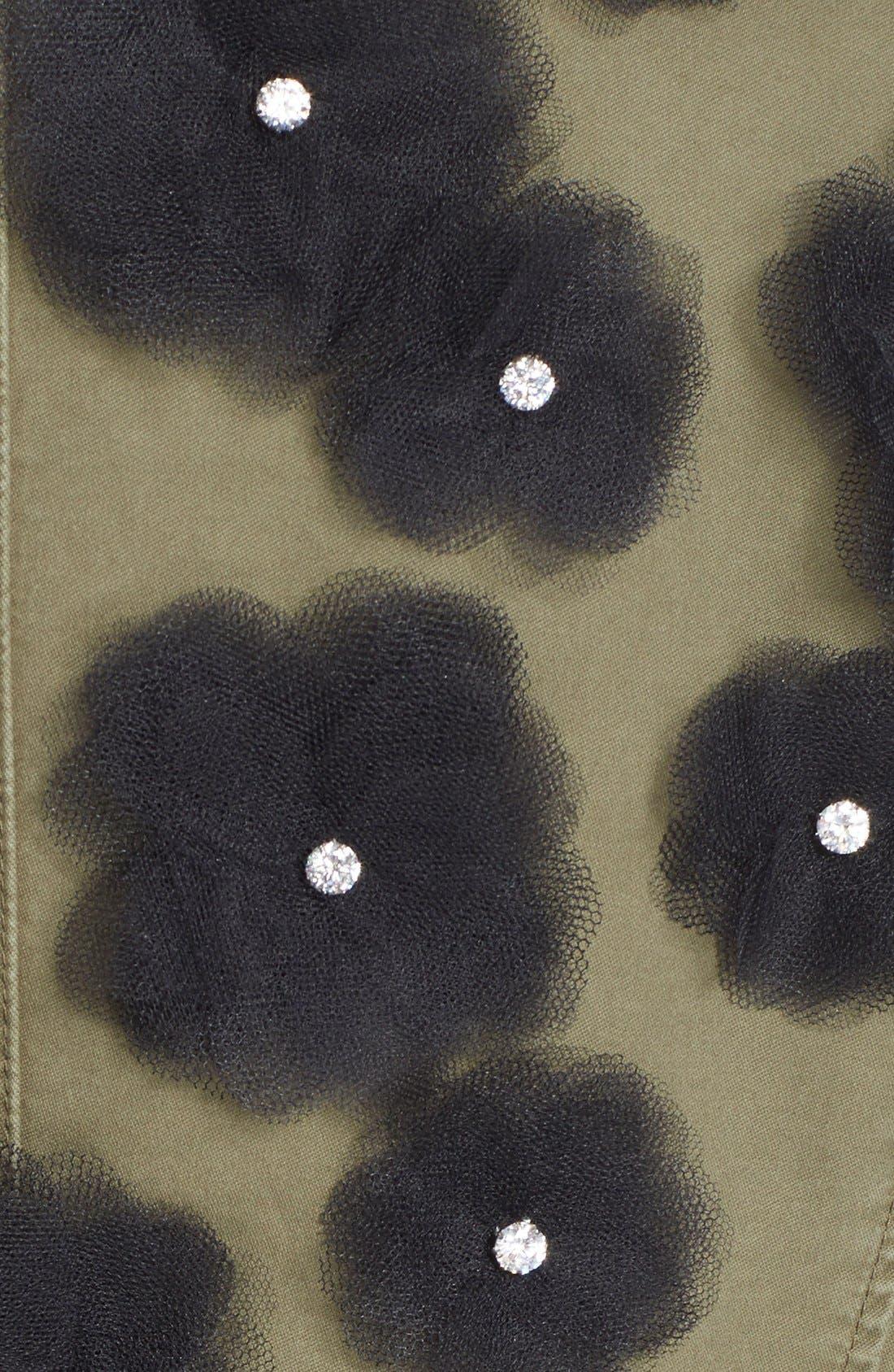Tulle Flower Military Jacket,                             Alternate thumbnail 4, color,                             250