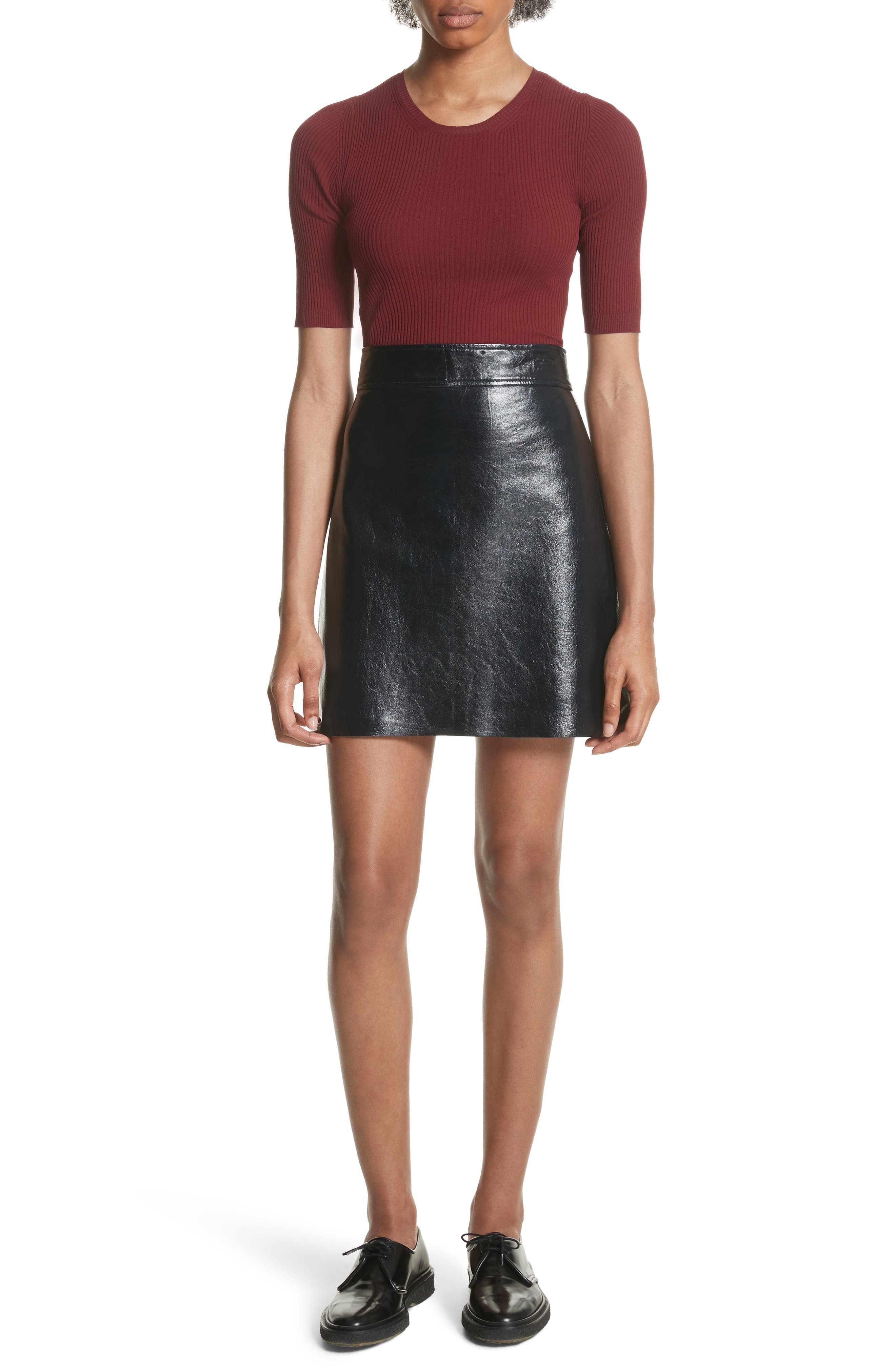 Crinkled Patent Leather Miniskirt,                             Alternate thumbnail 7, color,