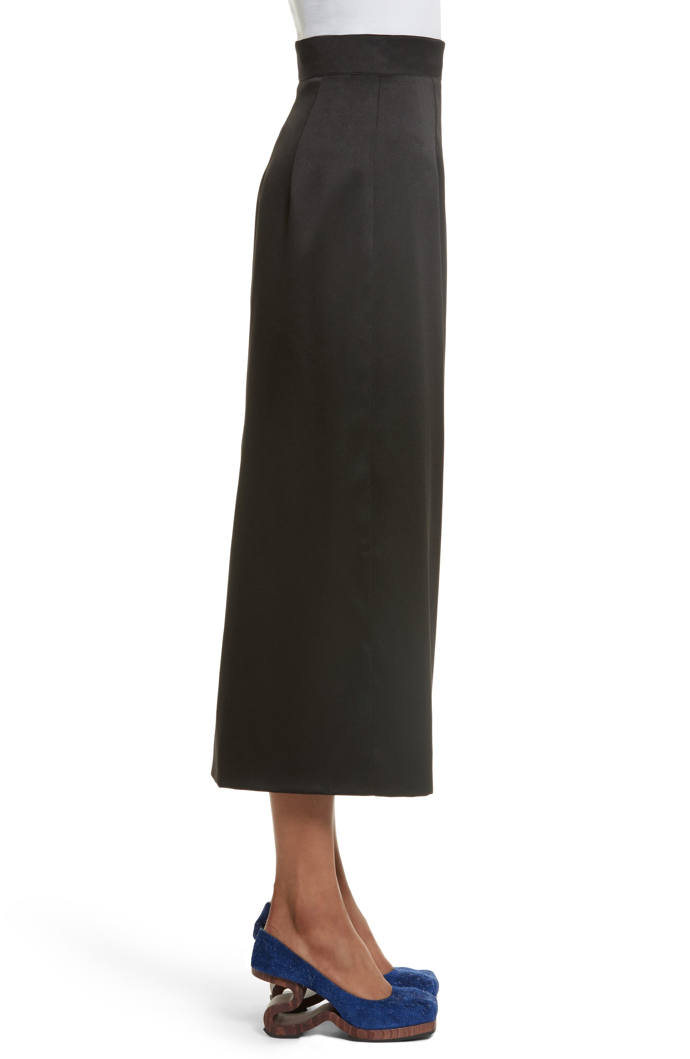 Side Zip Midi Skirt,                             Alternate thumbnail 3, color,                             001