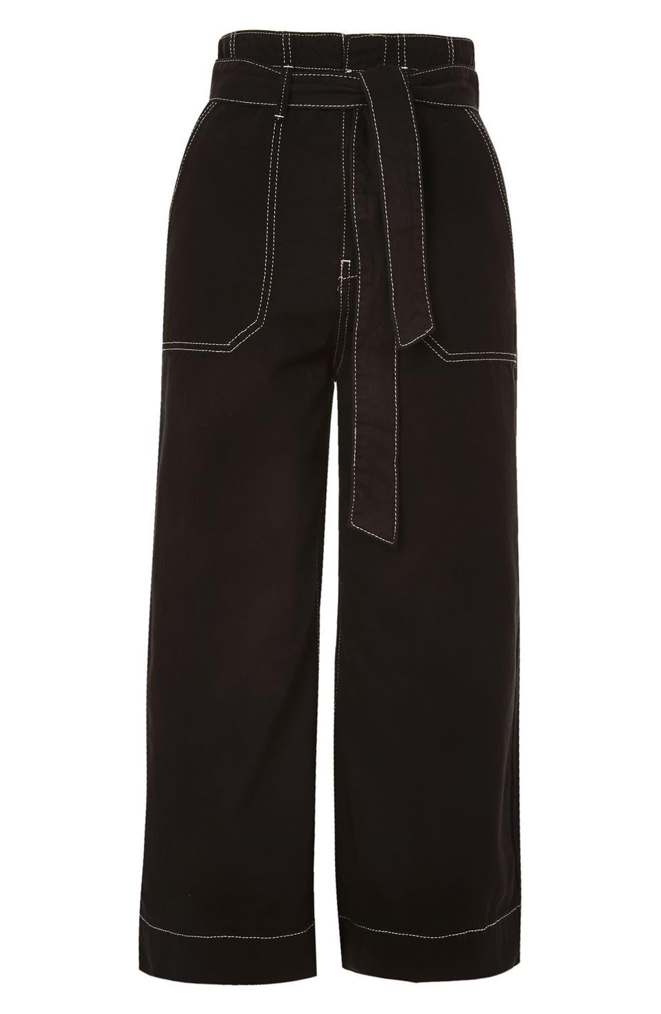 Contrast Stitch Wide Leg Crop Trousers,                             Alternate thumbnail 4, color,                             001