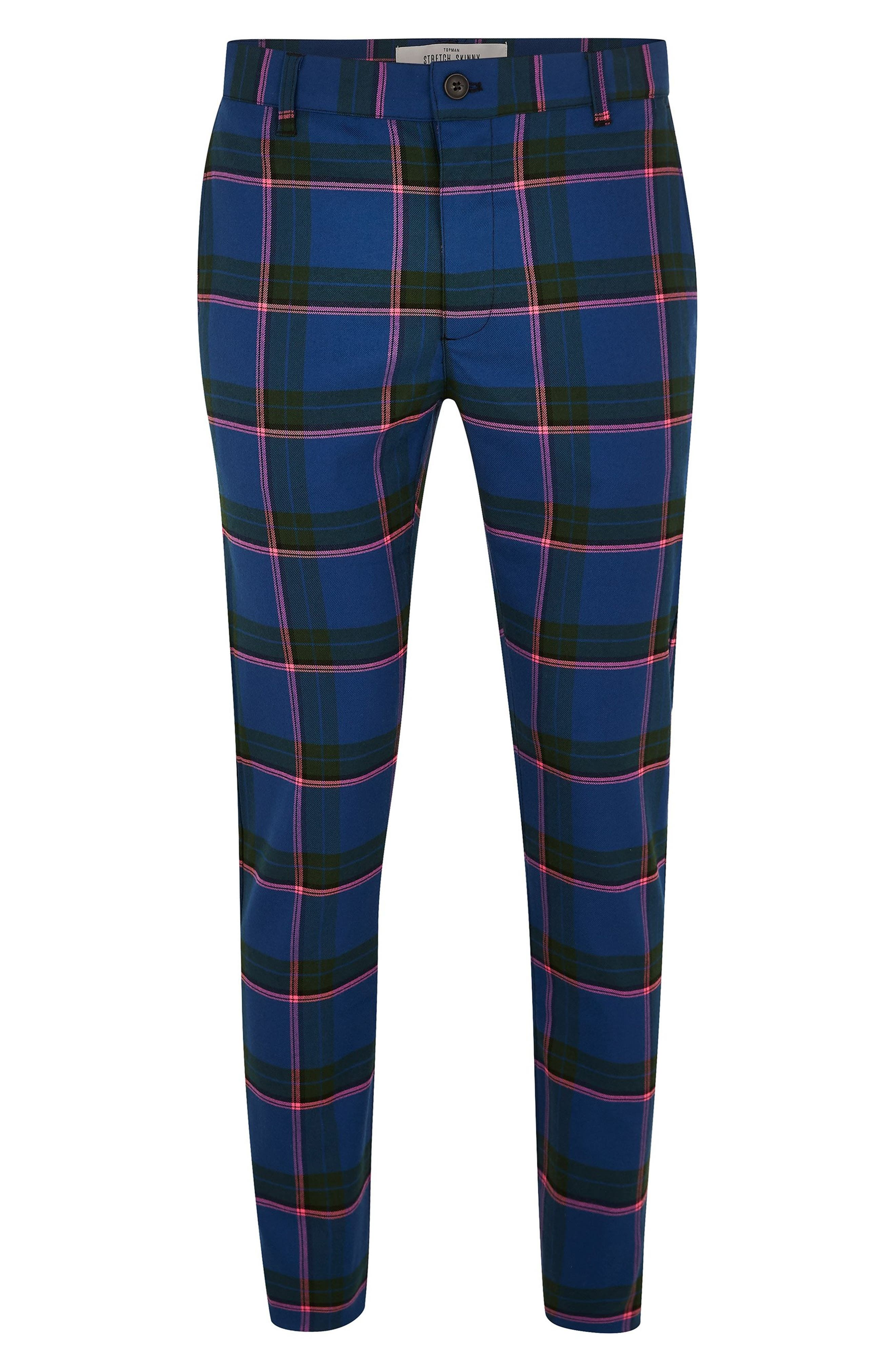 Mitchell Check Print Skinny Pants,                             Alternate thumbnail 4, color,                             400