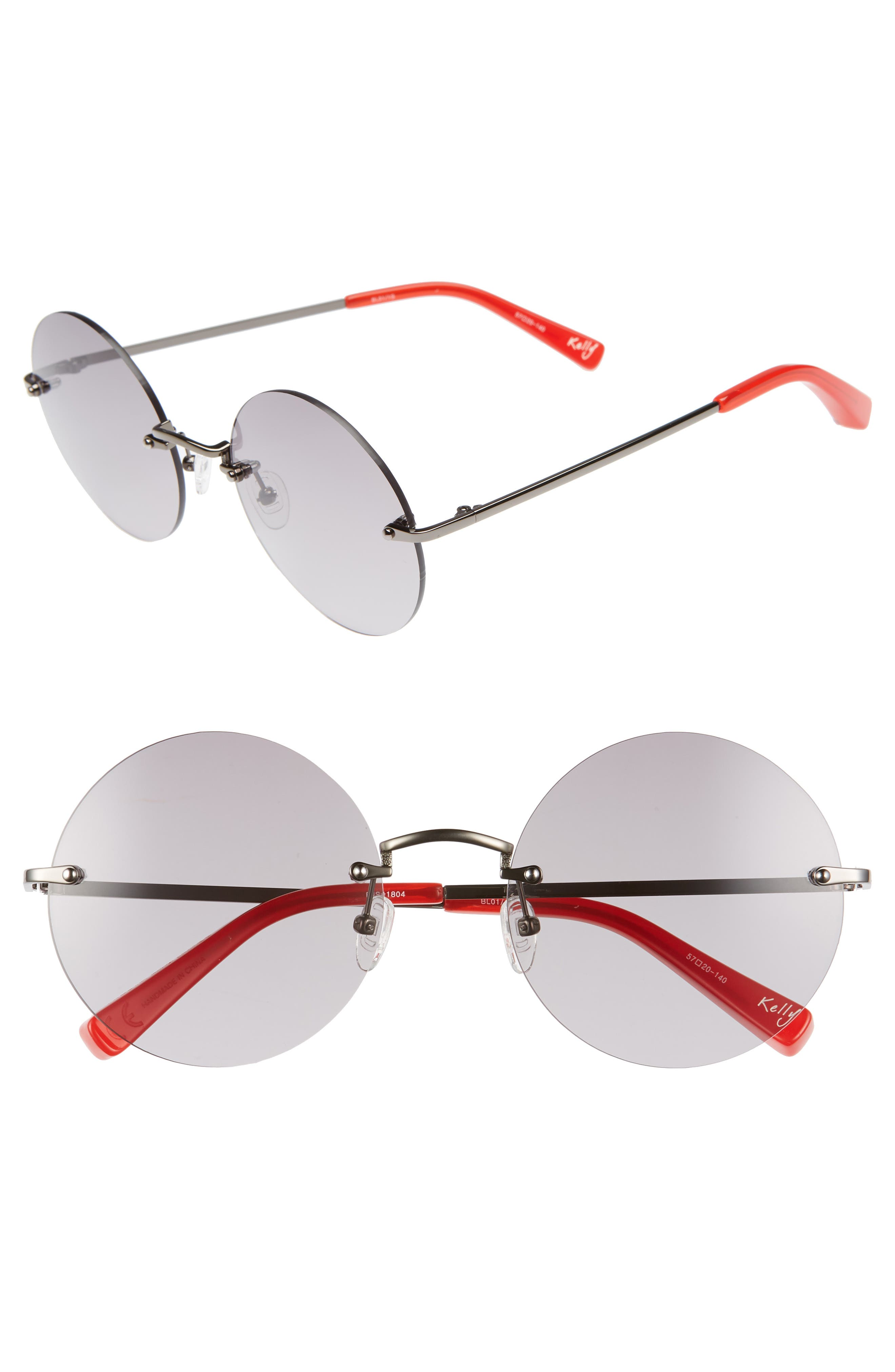 Kelly 57mm Rimless Round Sunglasses,                         Main,                         color, 001