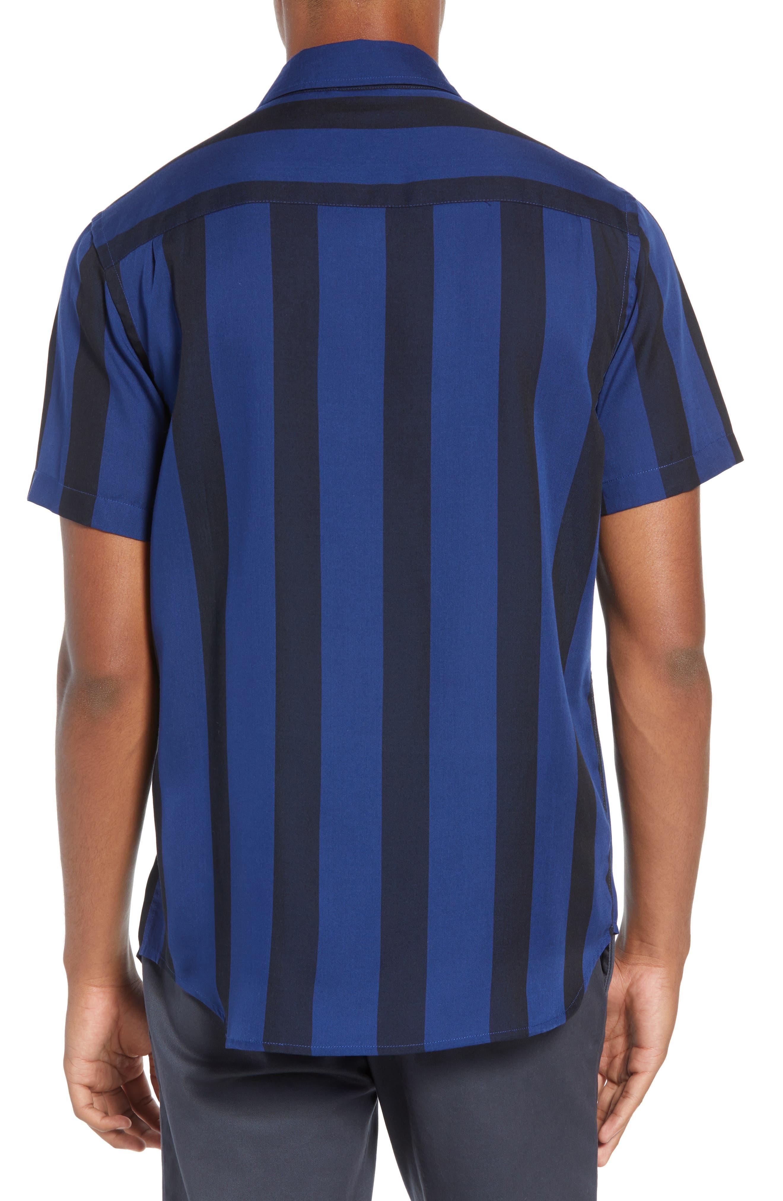 SATURDAYS NYC,                             Saturdays Nico Broad Stripe Woven Shirt,                             Alternate thumbnail 3, color,                             001
