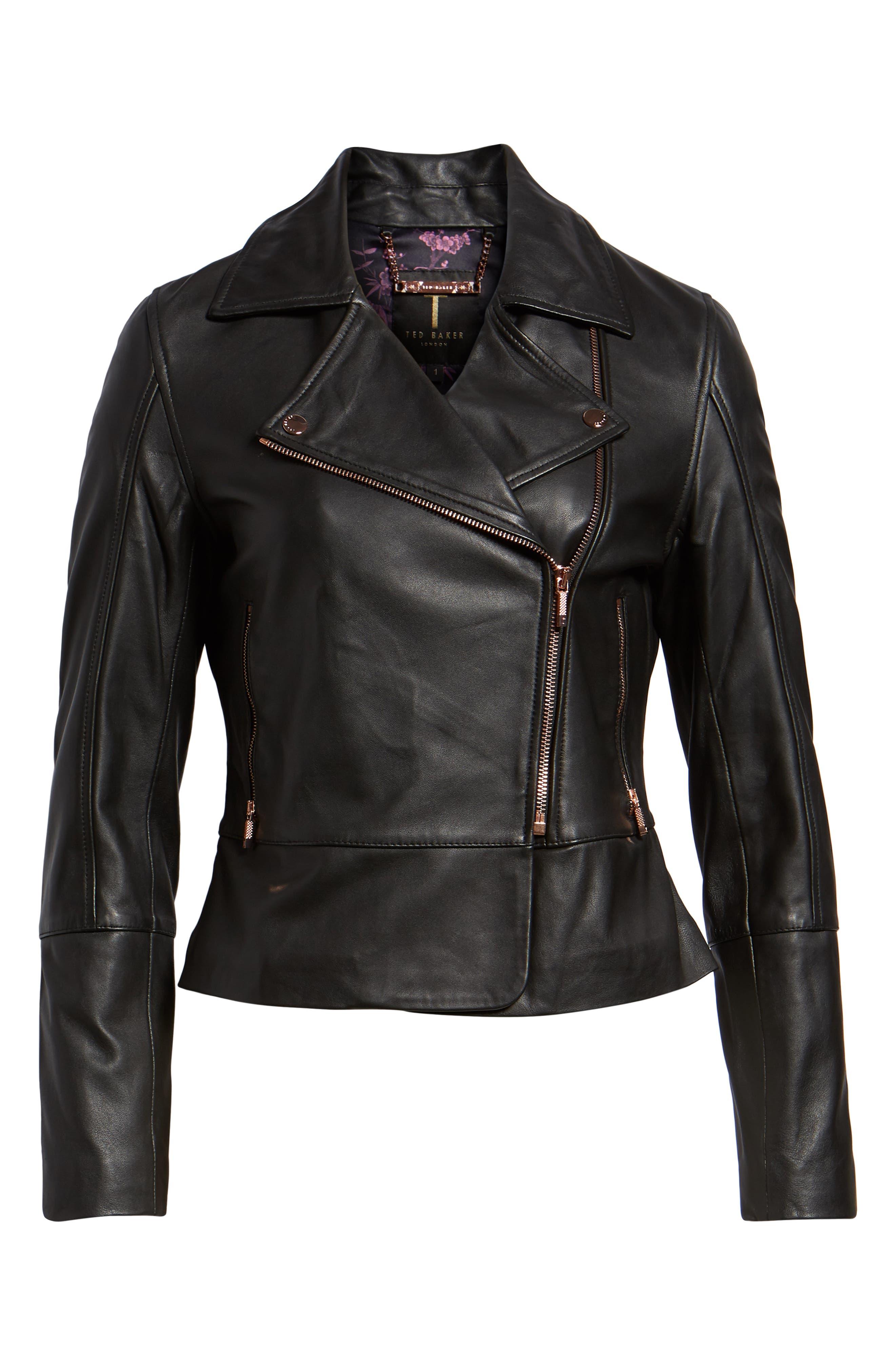 Lizia Minimal Biker Jacket,                             Alternate thumbnail 6, color,                             BLACK