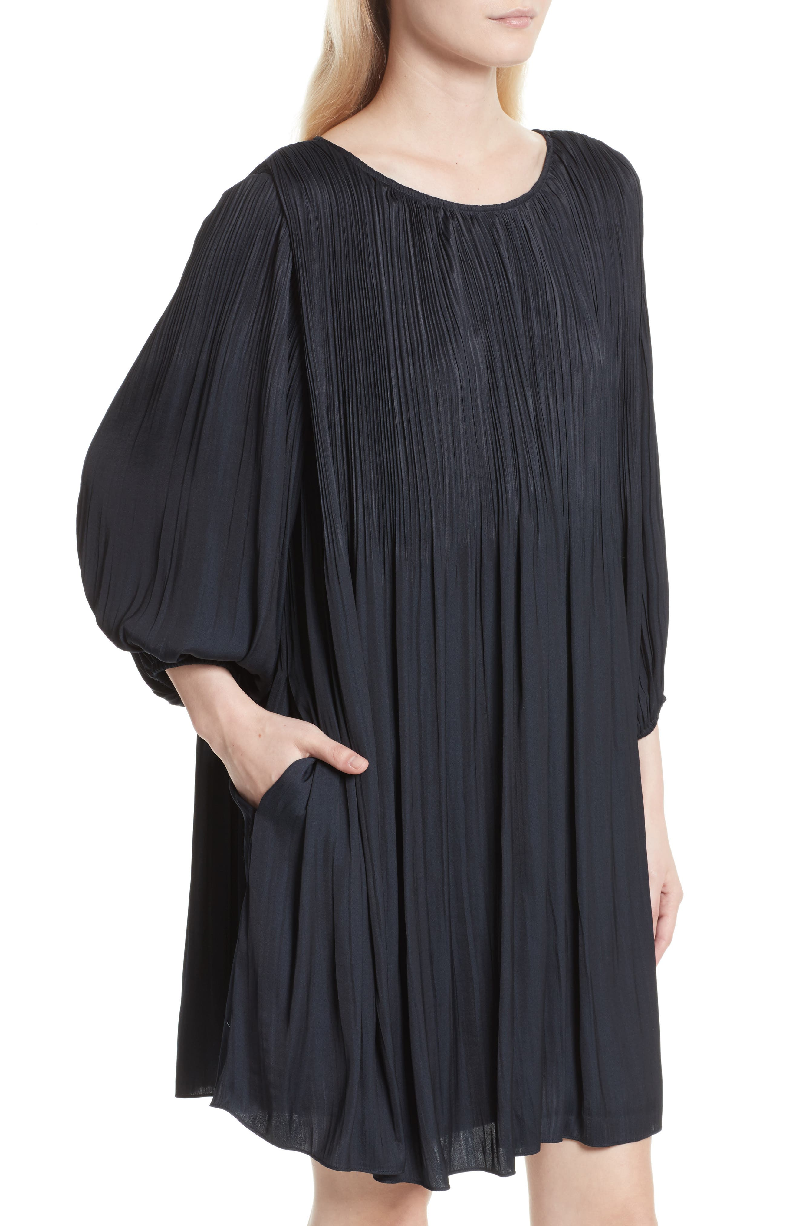 Florrie Pleated Shift Dress,                             Alternate thumbnail 4, color,                             410