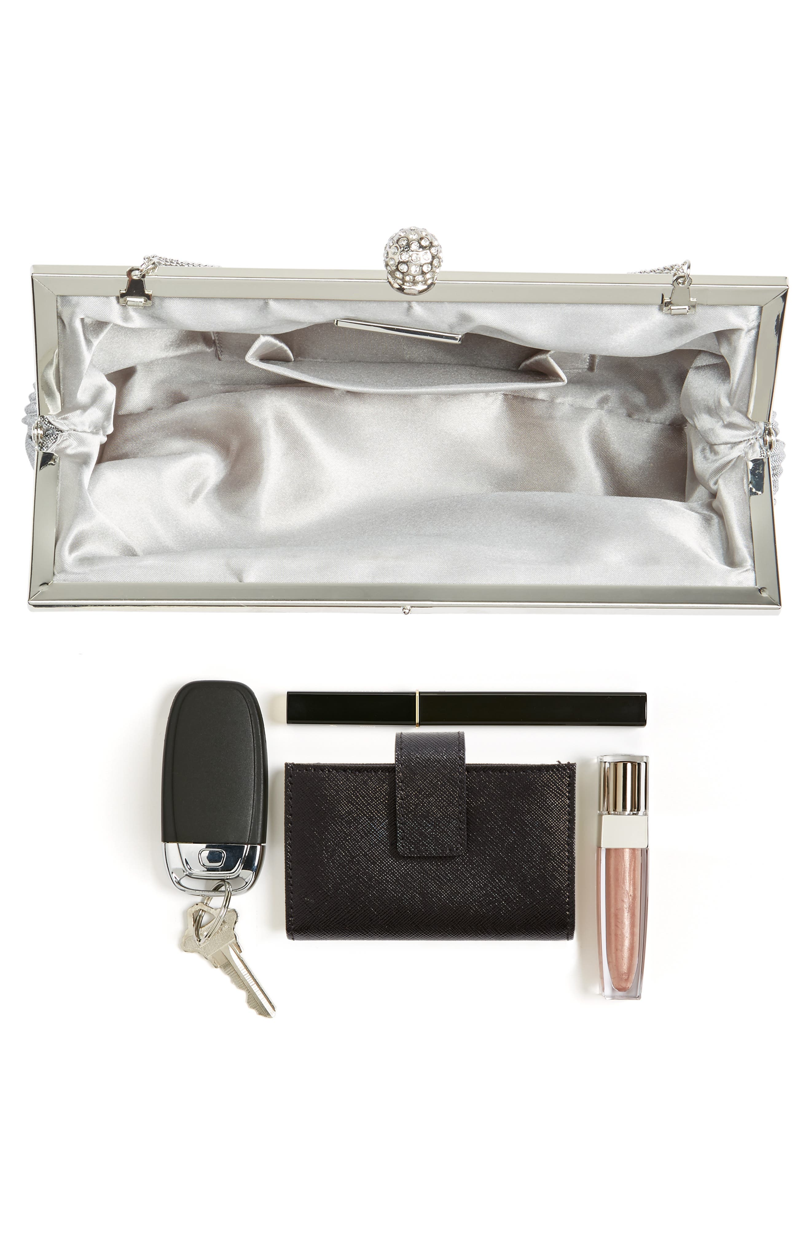 Aneka Pleated Shine Clutch,                             Alternate thumbnail 7, color,                             STEEL