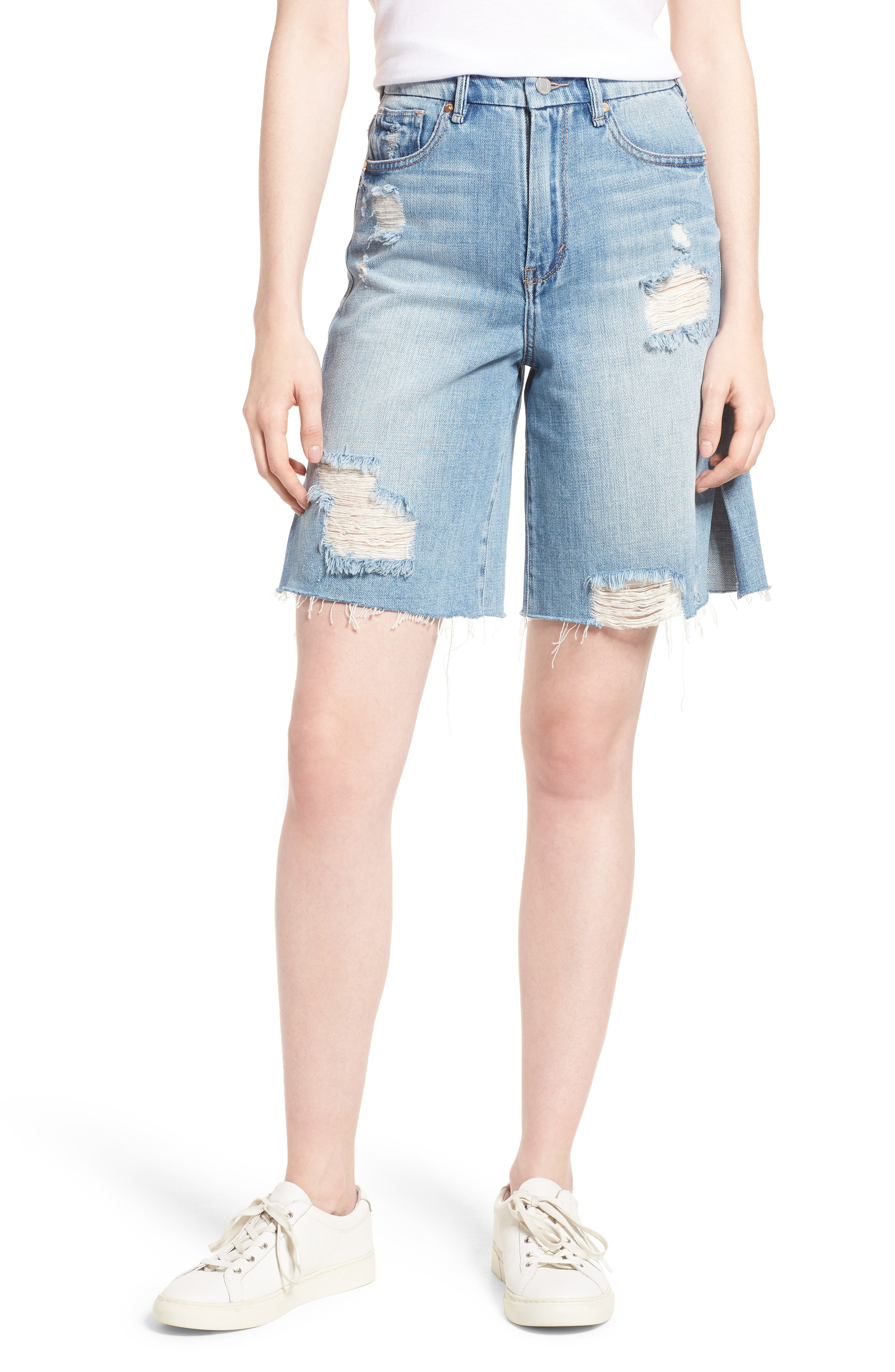 Wylie High Rise Distressed Bermuda Denim Shorts,                         Main,                         color, VARNISH