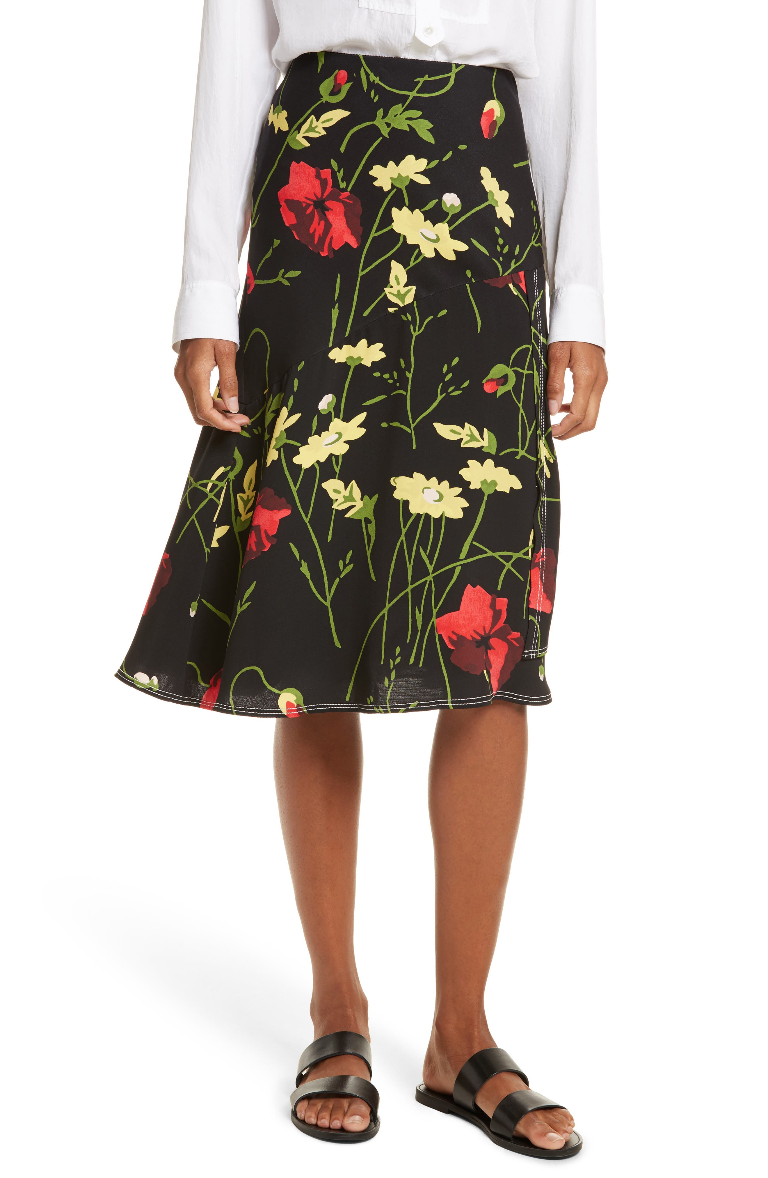 Floral Print Silk Skirt,                         Main,                         color, 001