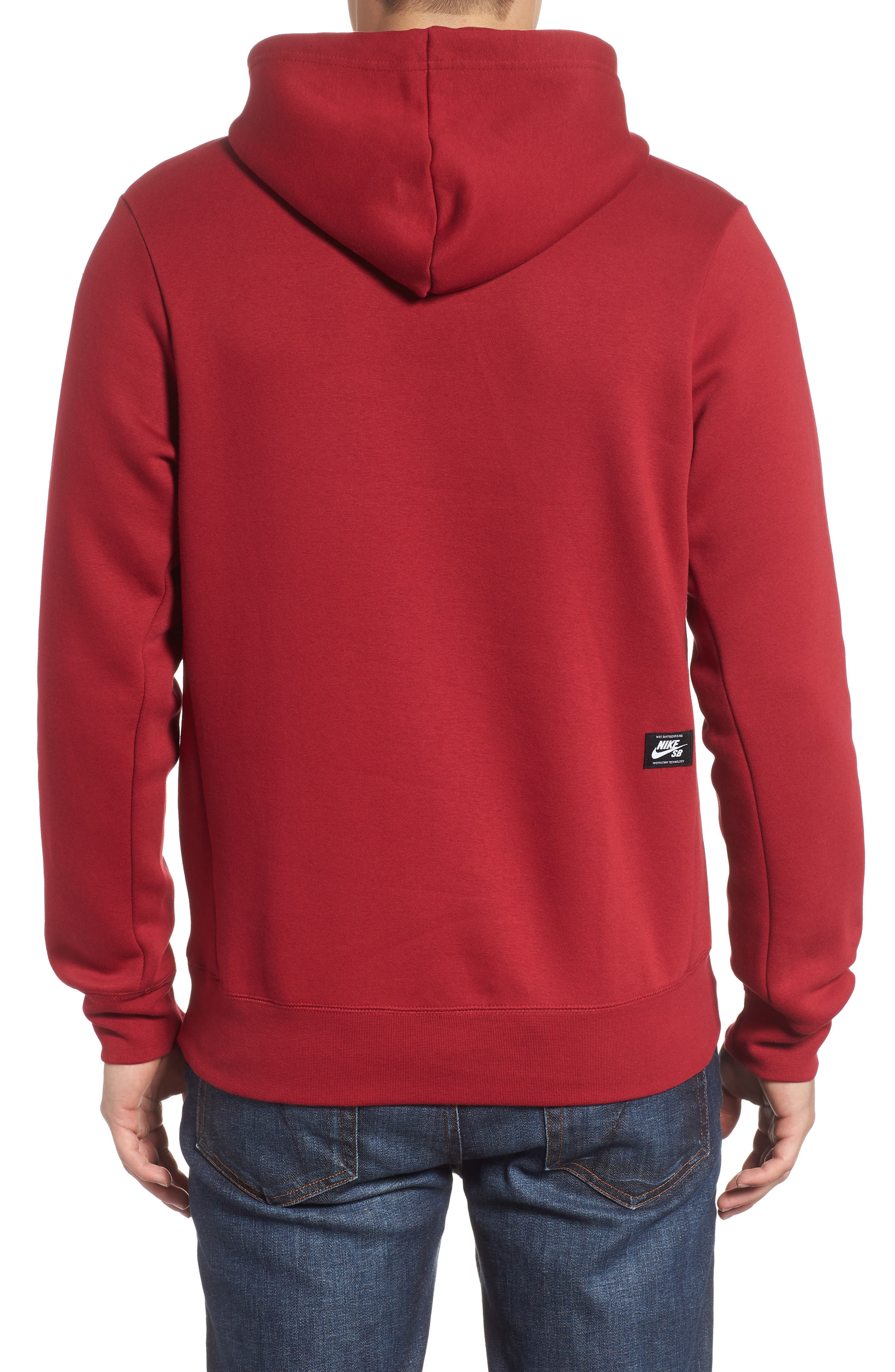 NIKE SB,                             Icon Essential Hoodie,                             Alternate thumbnail 2, color,                             RED CRUSH
