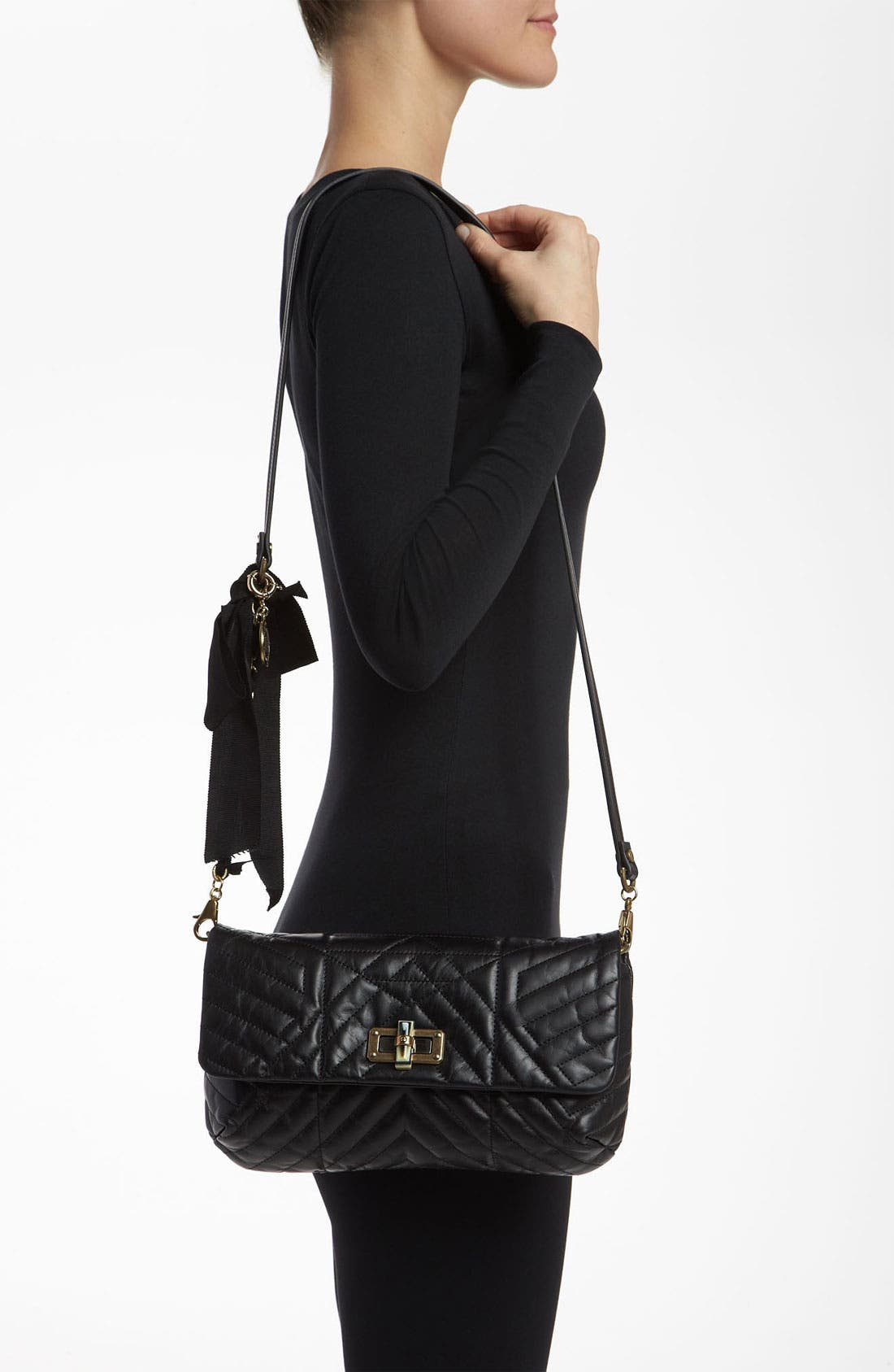 'Happy' Quilted Leather Crossbody Bag,                             Alternate thumbnail 3, color,                             001