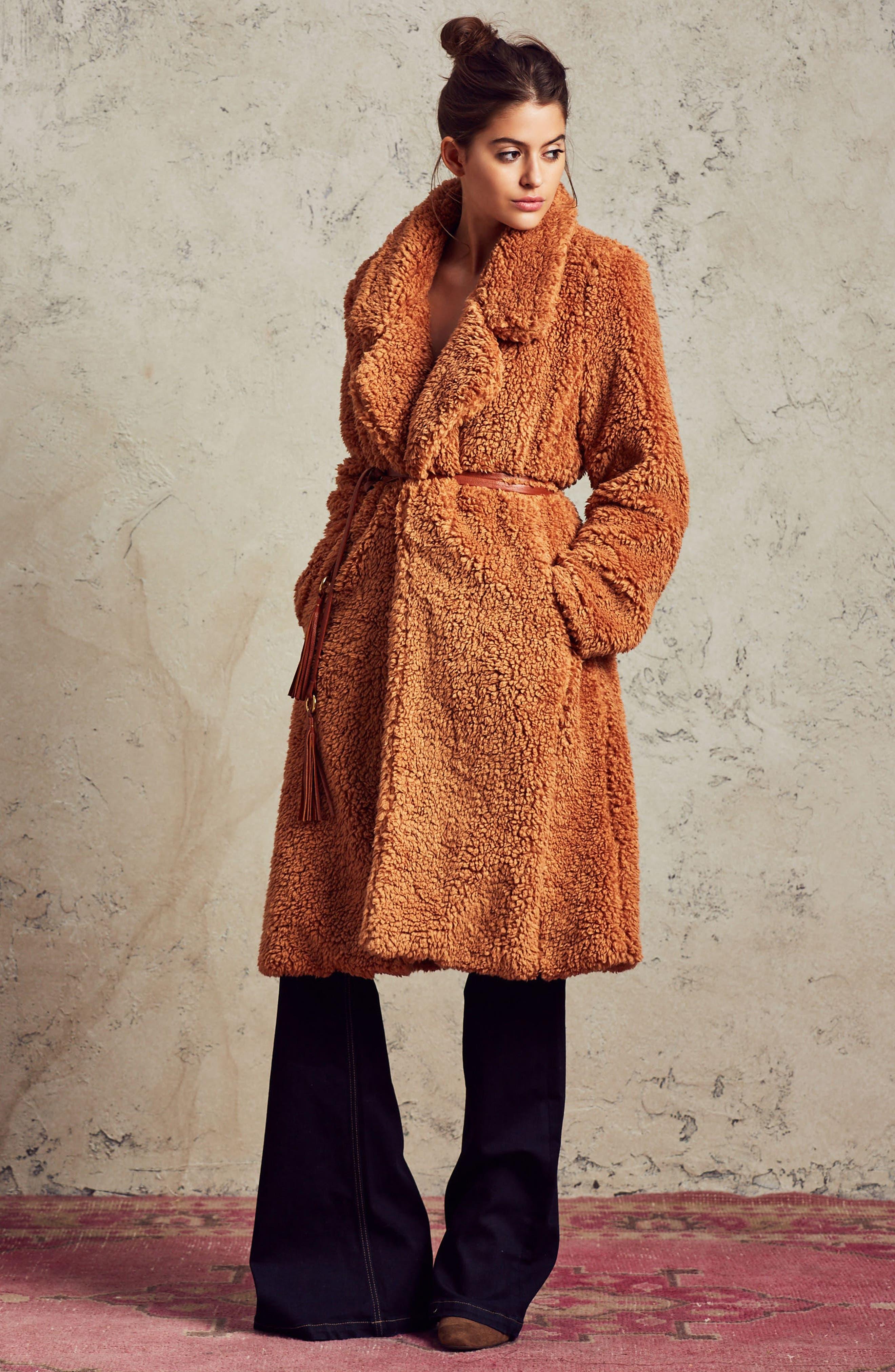 Violet Teddy Bear Coat,                             Alternate thumbnail 20, color,
