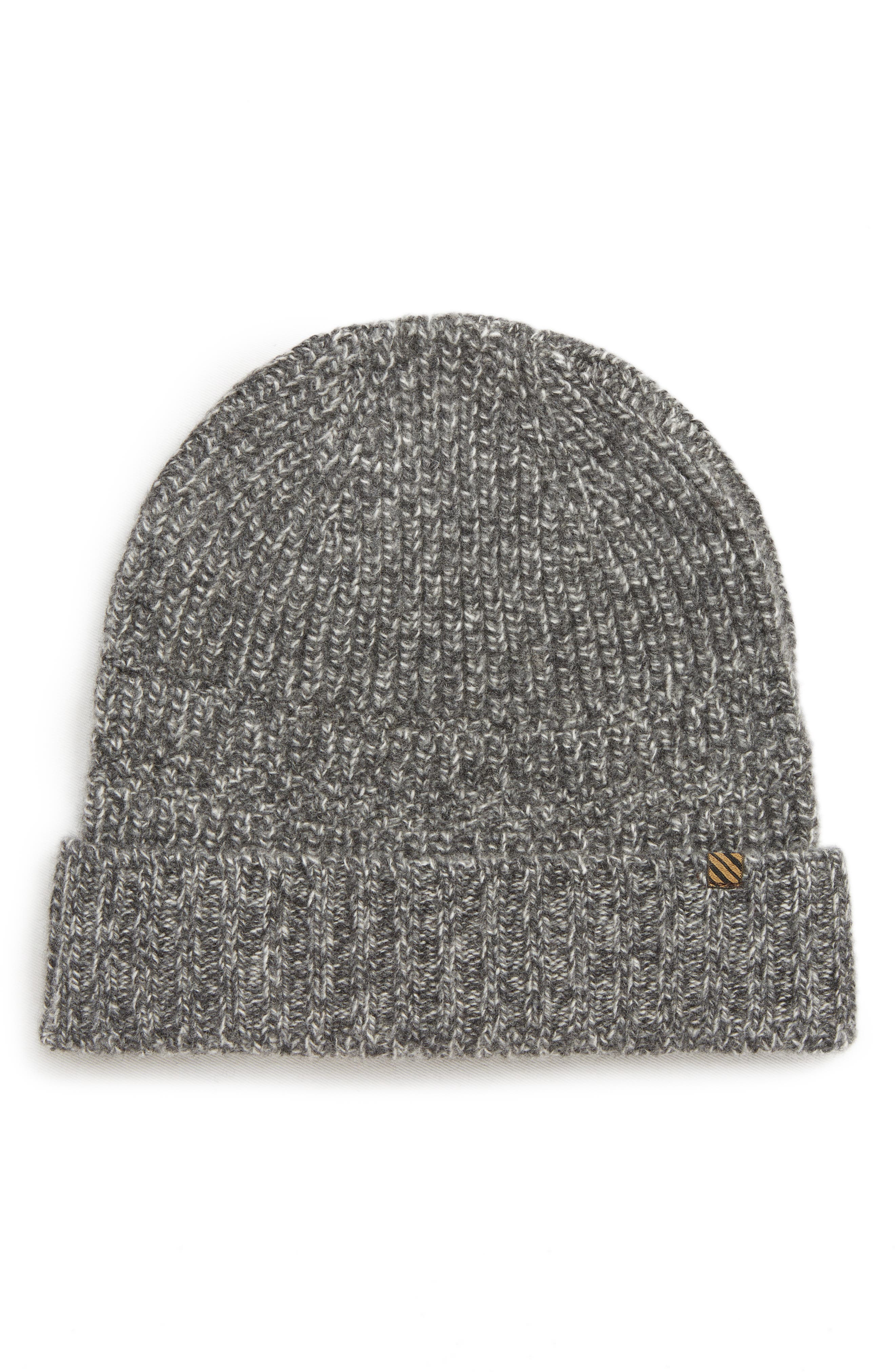 Ribbon Shaker Cashmere Beanie - Grey in Charcoal