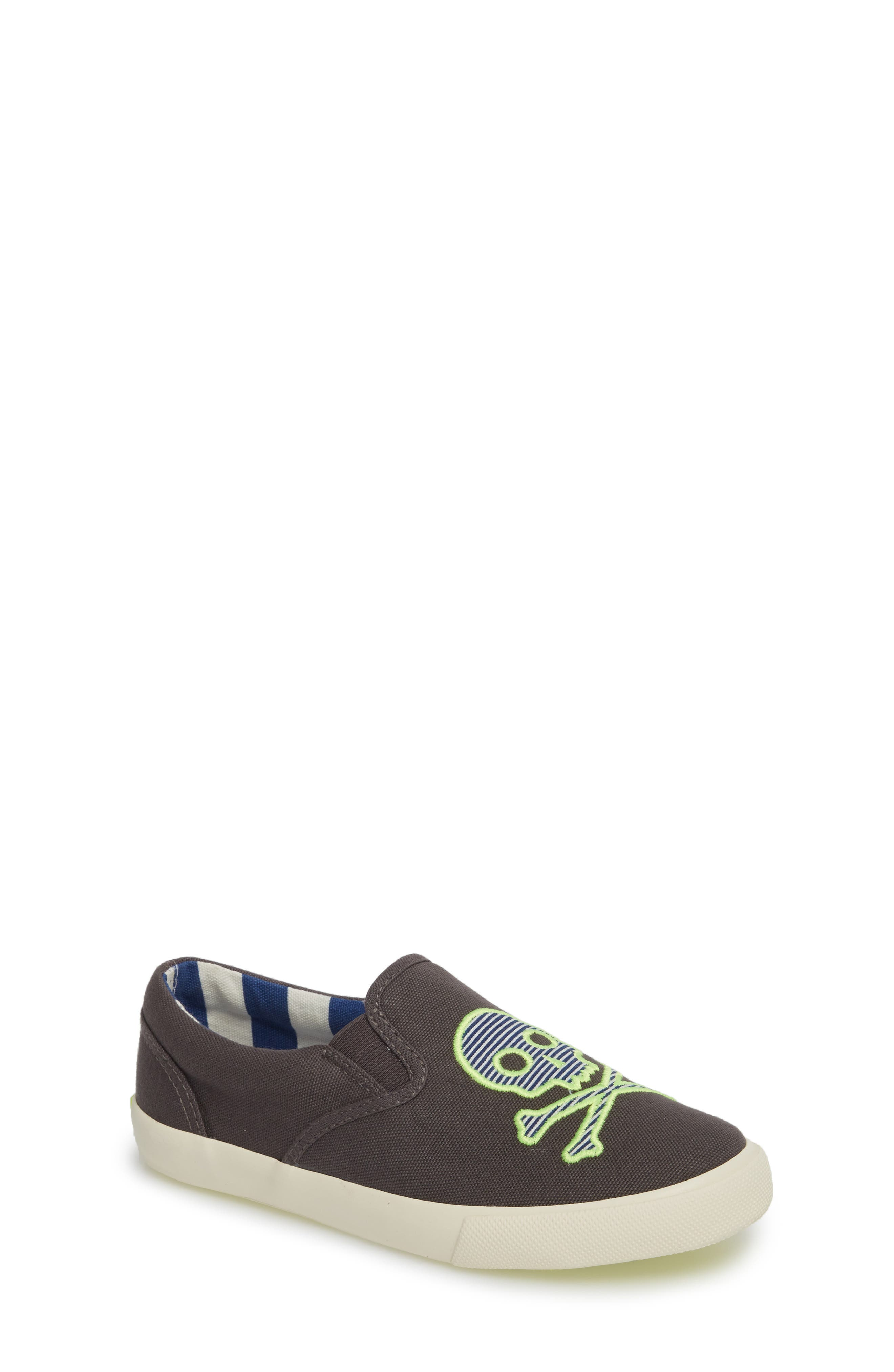 Embroidered Slip-On Sneaker,                         Main,                         color, SHARK GREY