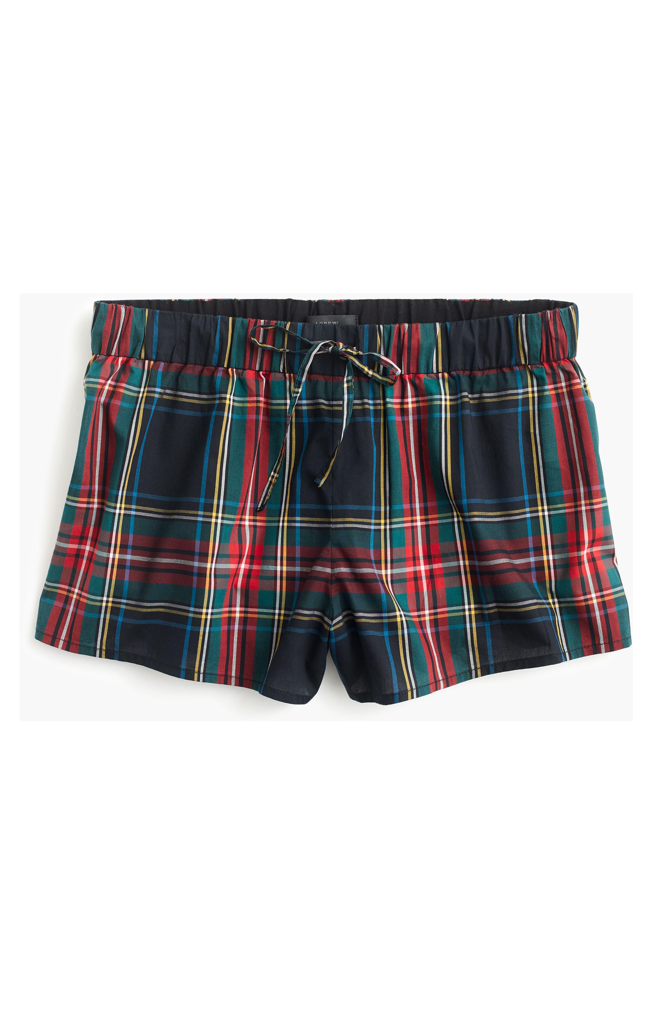 Tartan Plaid Pajama Shorts,                             Alternate thumbnail 4, color,                             600