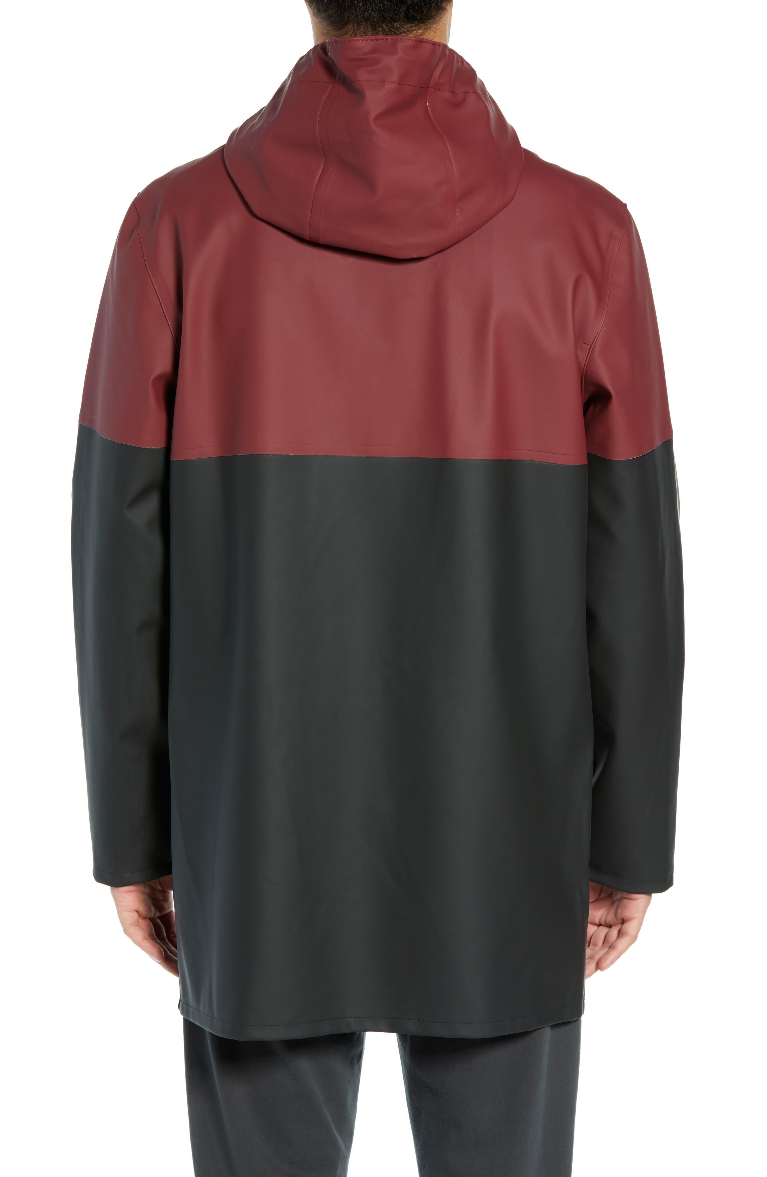 Stockholm Colorblock Waterproof Hooded Raincoat,                             Alternate thumbnail 2, color,                             BURGUNDY/ BLACK