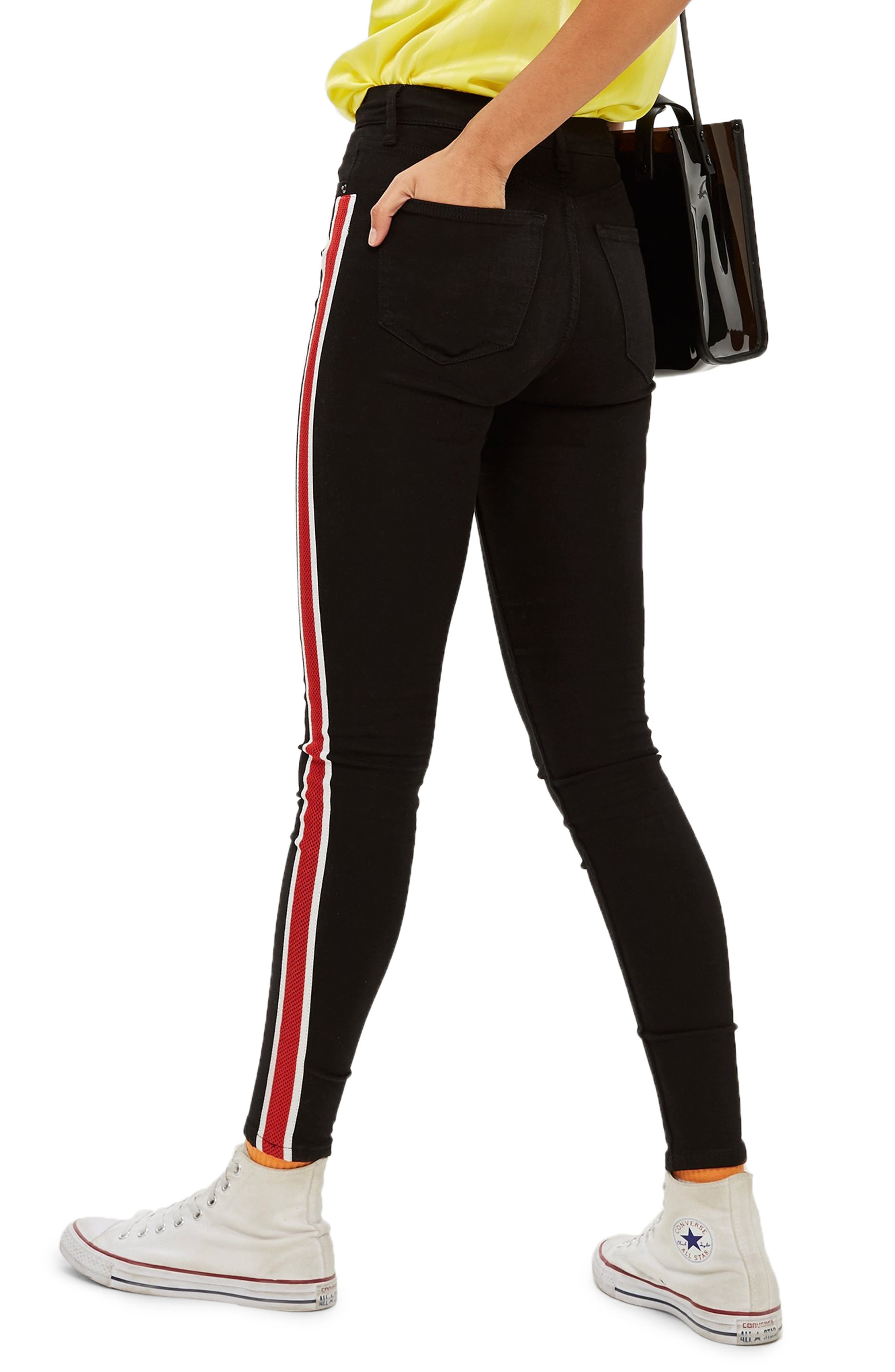 Jamie Airtex Stripe Moto Jeans,                             Alternate thumbnail 2, color,                             BLACK MULTI