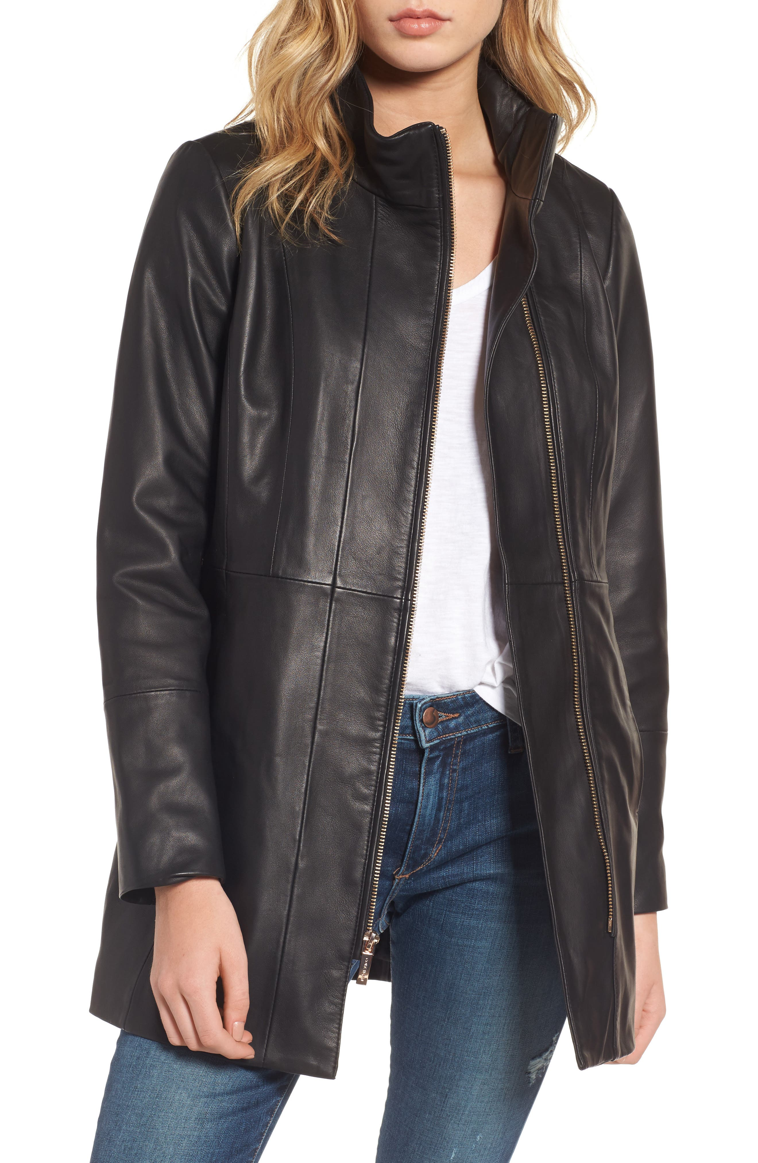 Leather Car Coat,                             Main thumbnail 1, color,                             001