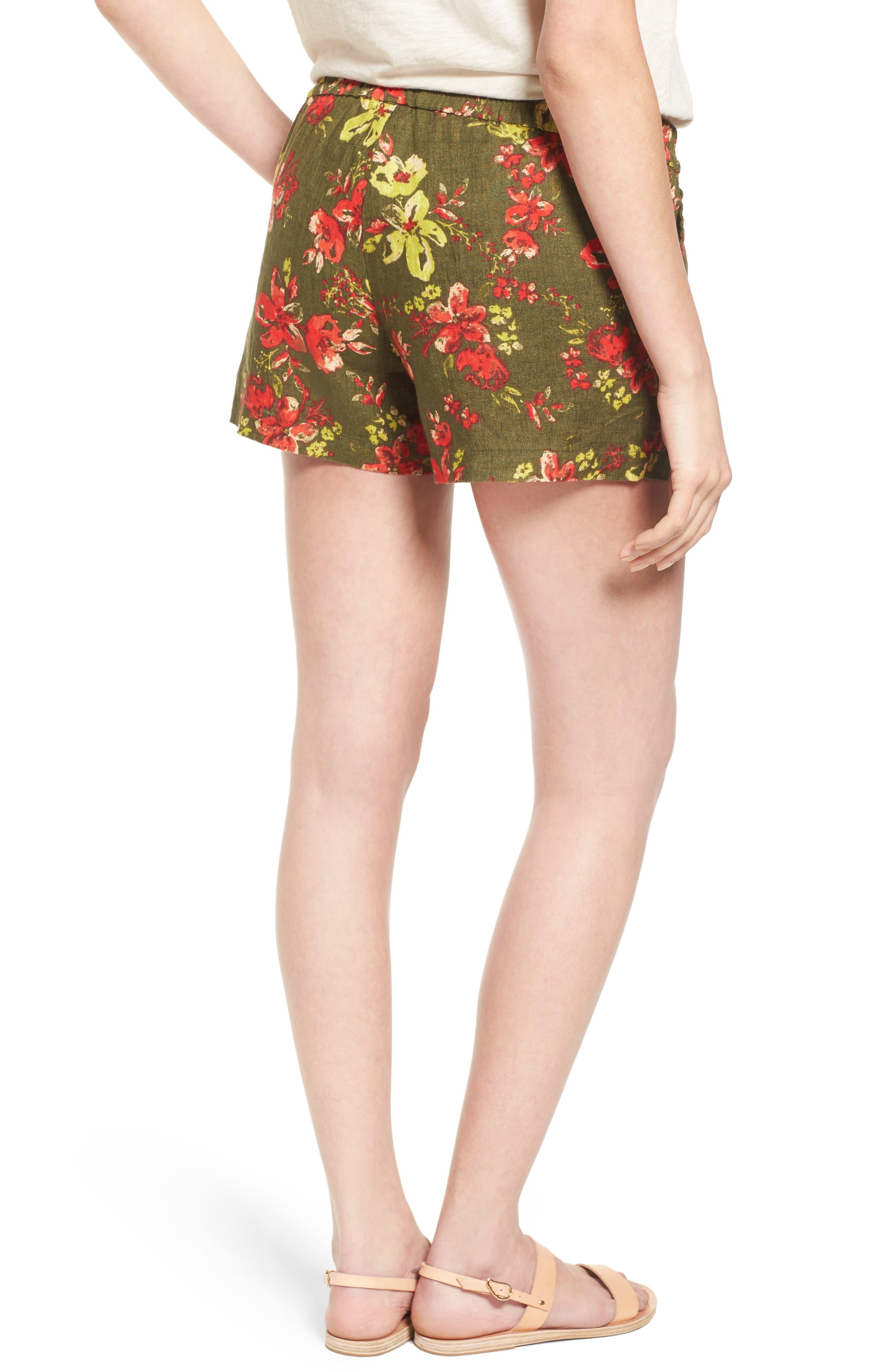 Zaria Print Linen Shorts,                             Alternate thumbnail 2, color,                             317