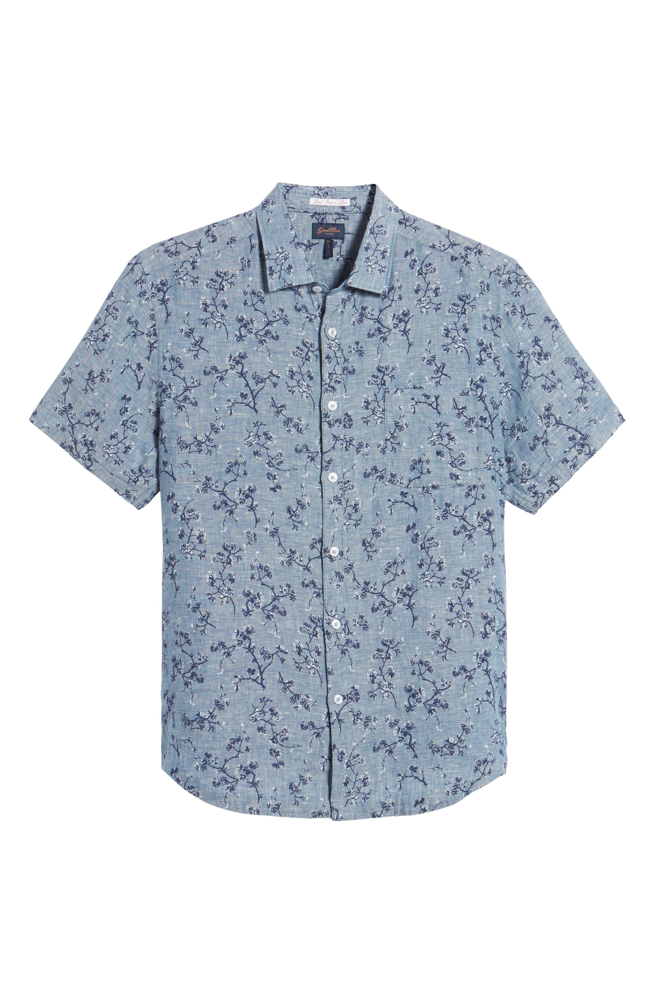 Trim Fit Floral Sport Shirt,                             Alternate thumbnail 6, color,                             401