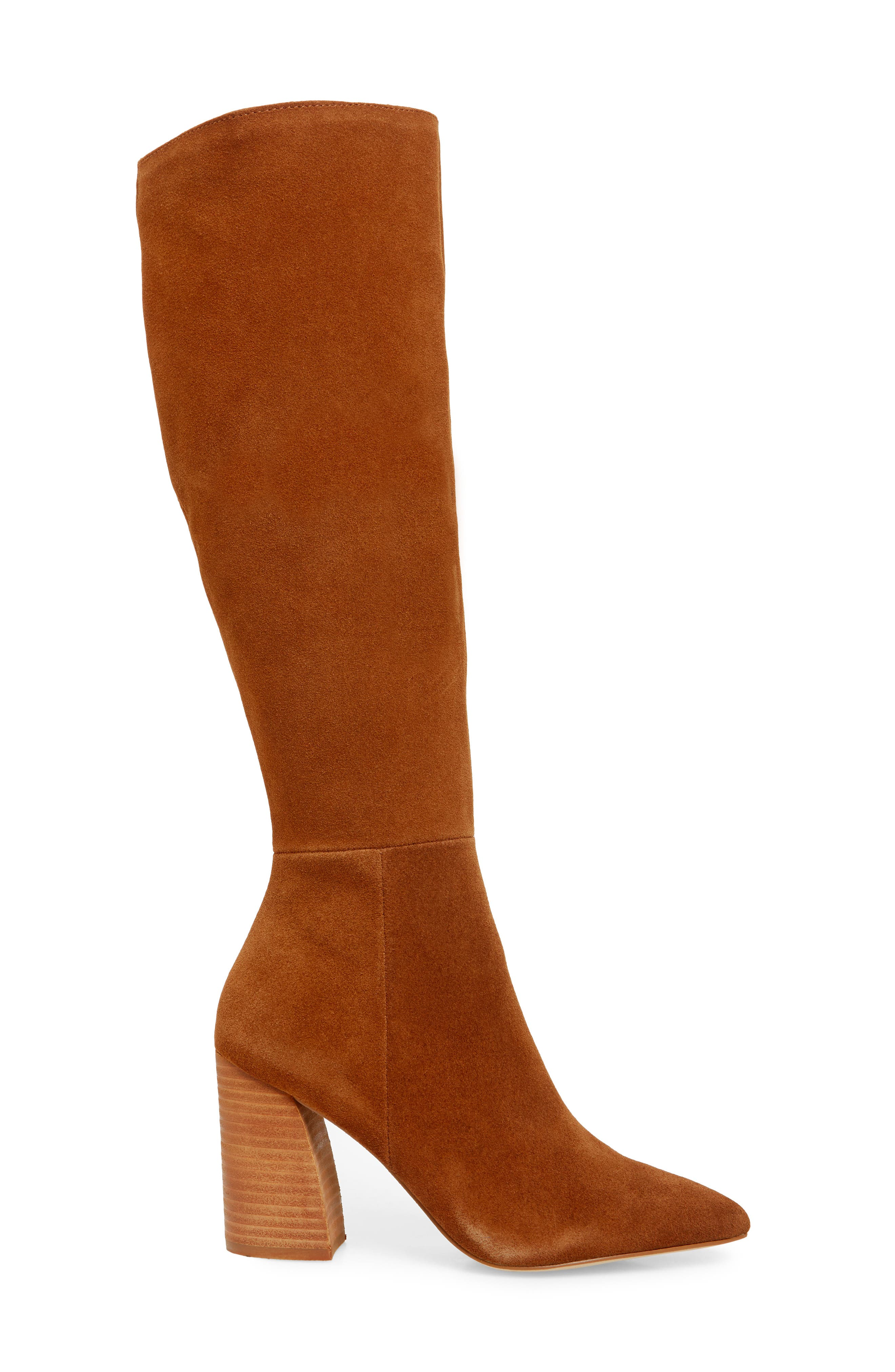 Serve Knee High Boot,                             Alternate thumbnail 3, color,                             CHESTNUT SUEDE