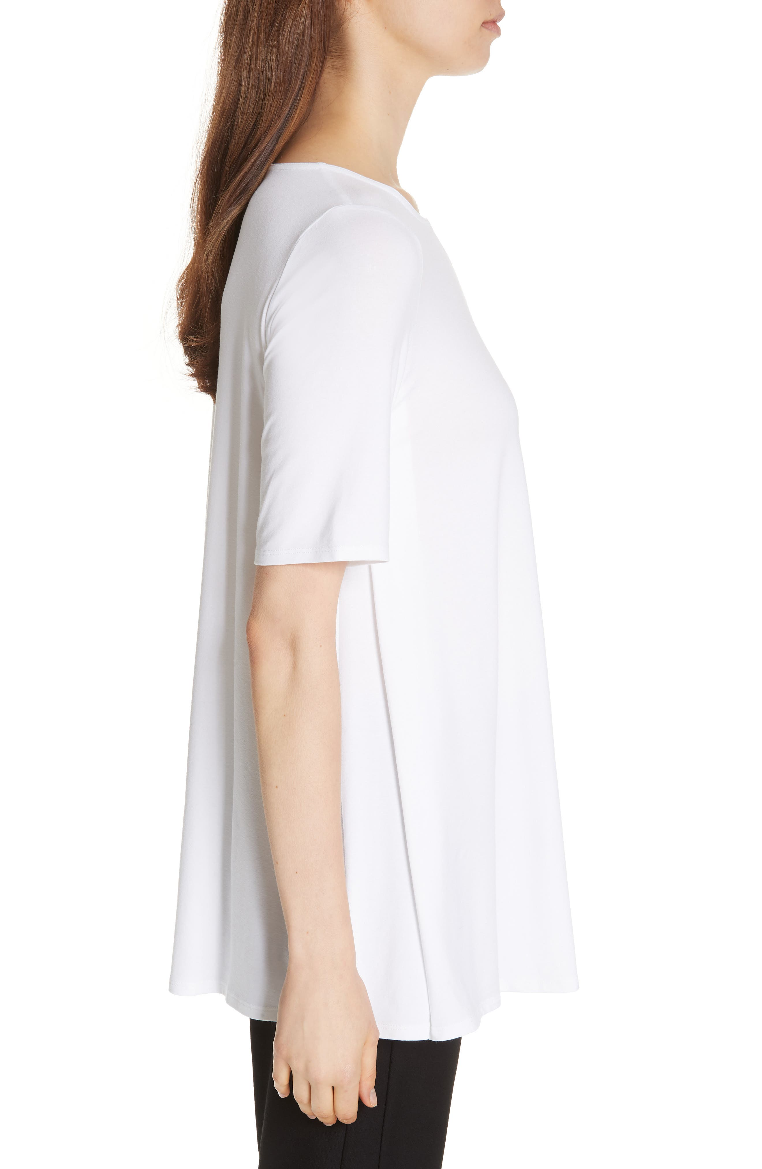 Jewel Neck Elbow Sleeve Tunic,                             Alternate thumbnail 3, color,                             WHITE
