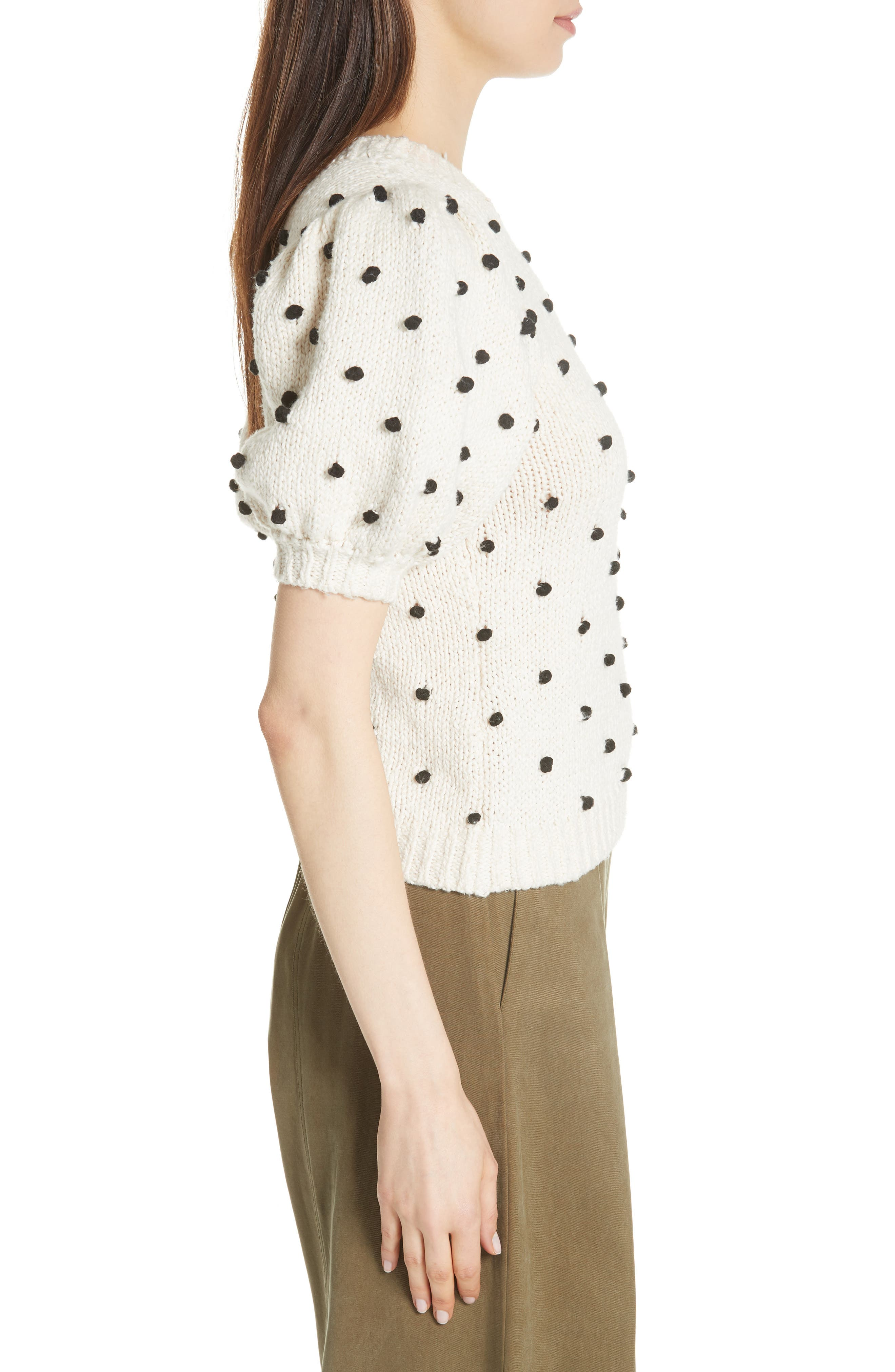 Bettine Puff Sleeve Polka Dot Sweater,                             Alternate thumbnail 3, color,