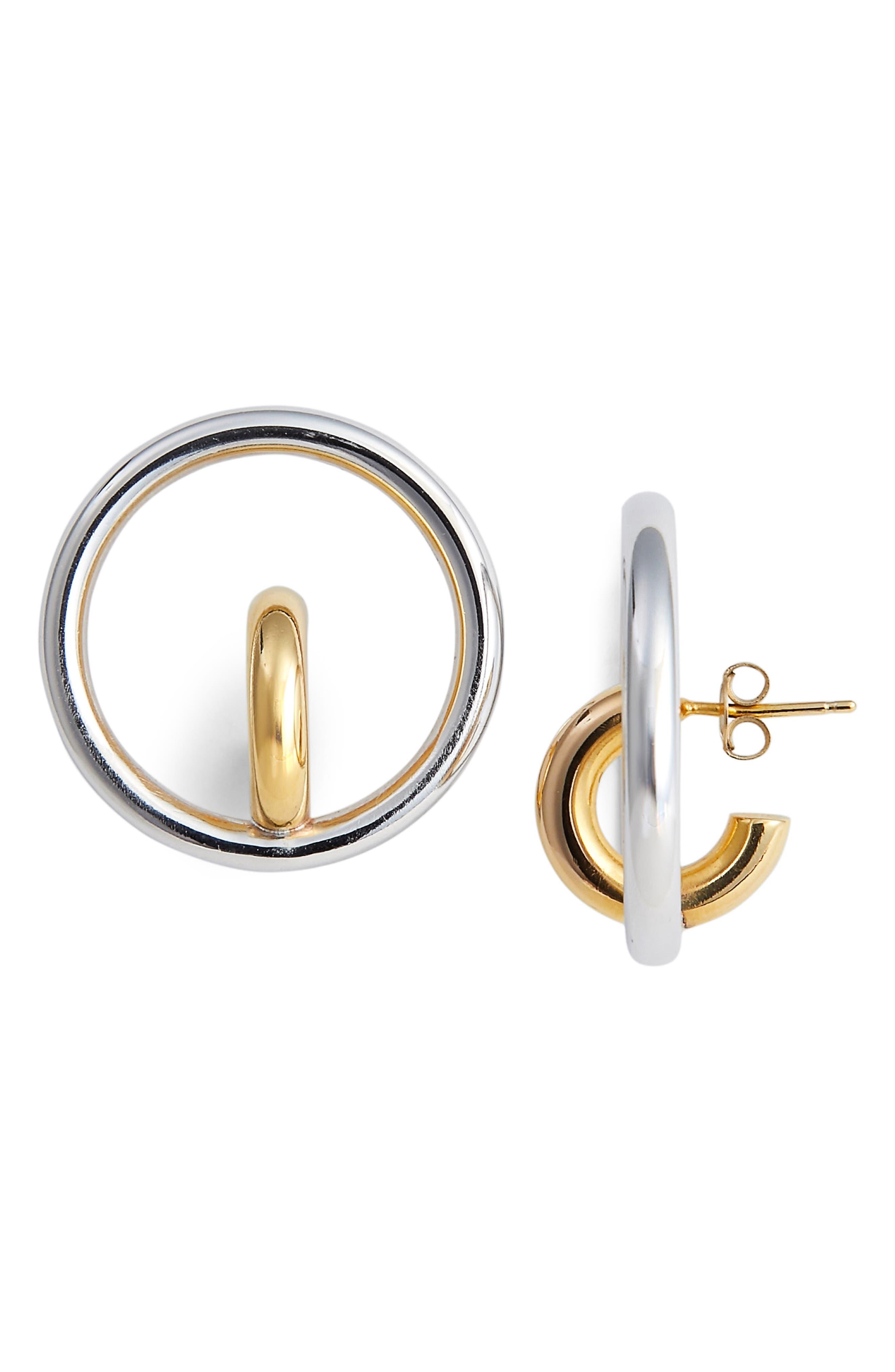 Saturn Blow Medium Hoop Earrings,                             Main thumbnail 1, color,                             YELLOW SILVER