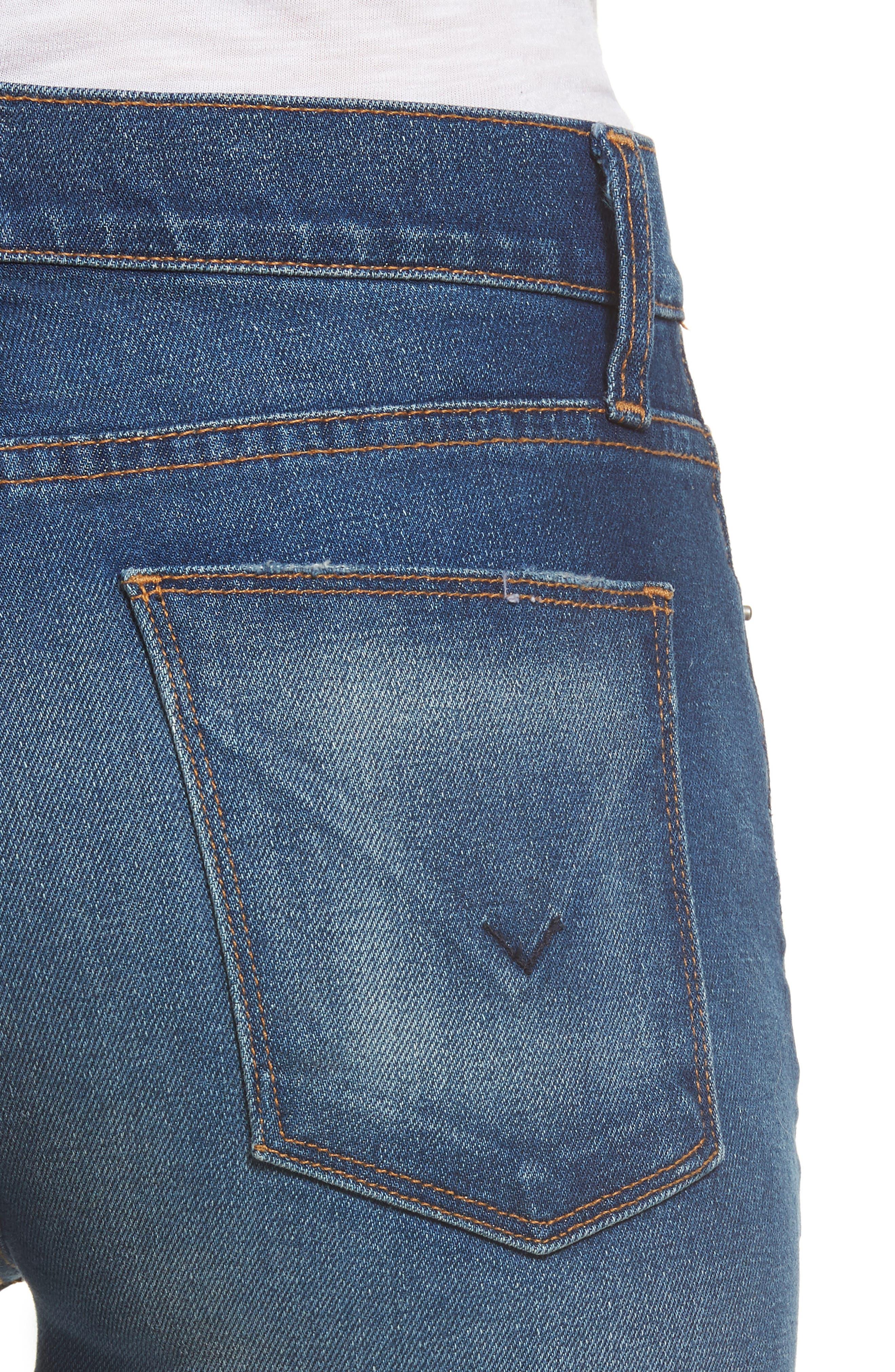 Zoeey High Waist Crop Straight Leg Jeans,                             Alternate thumbnail 4, color,                             420
