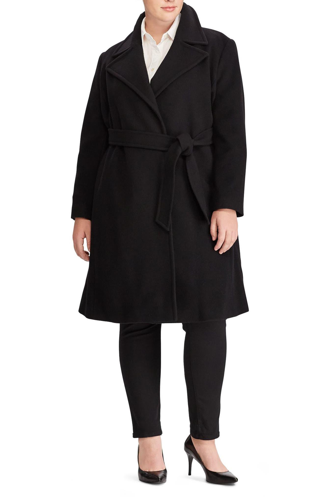 Wool Blend Wrap Coat,                         Main,                         color, BLACK