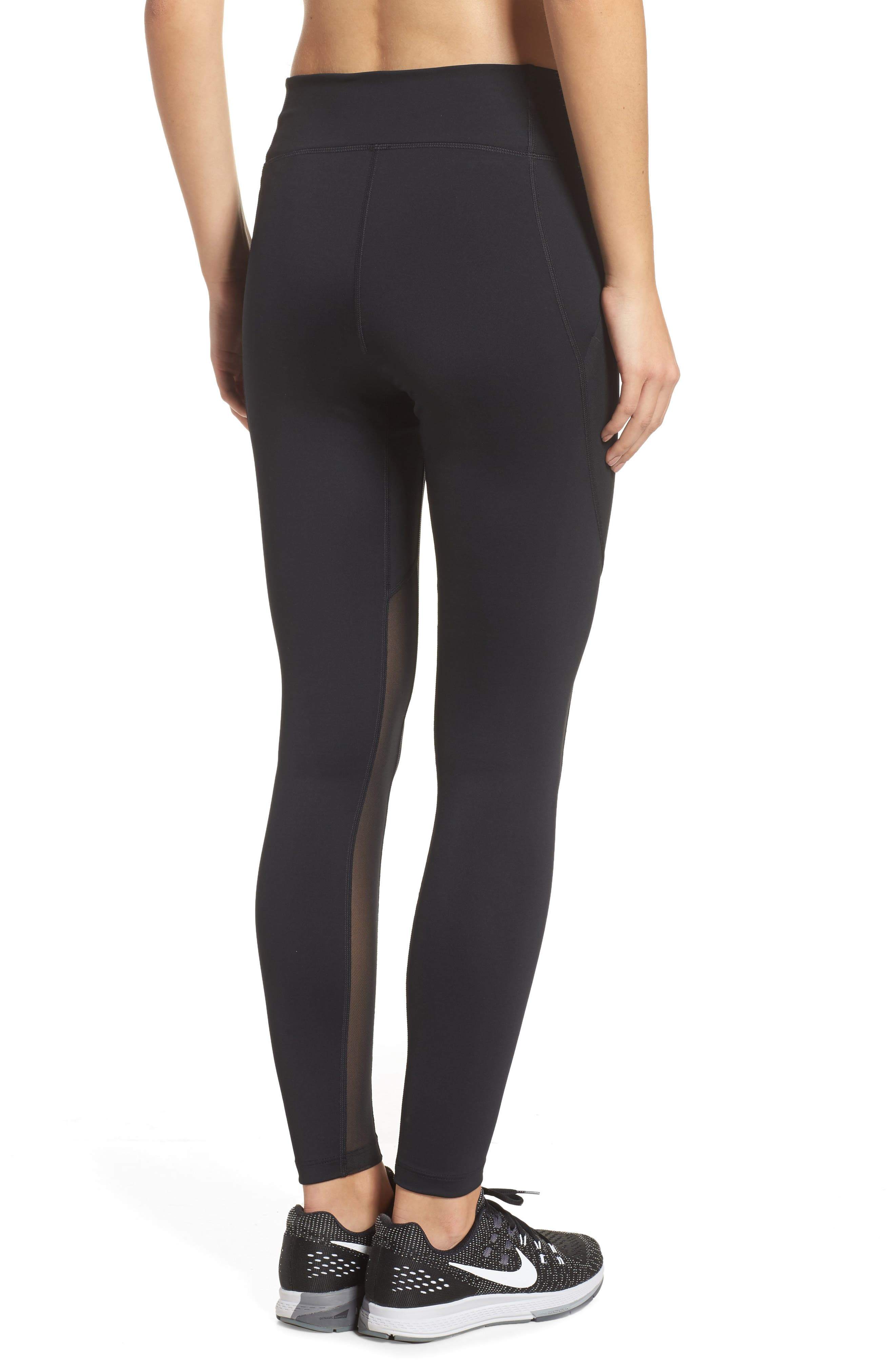 Power Pocket Lux Ankle Tights,                             Alternate thumbnail 2, color,                             BLACK/ BLACK/ CLEAR