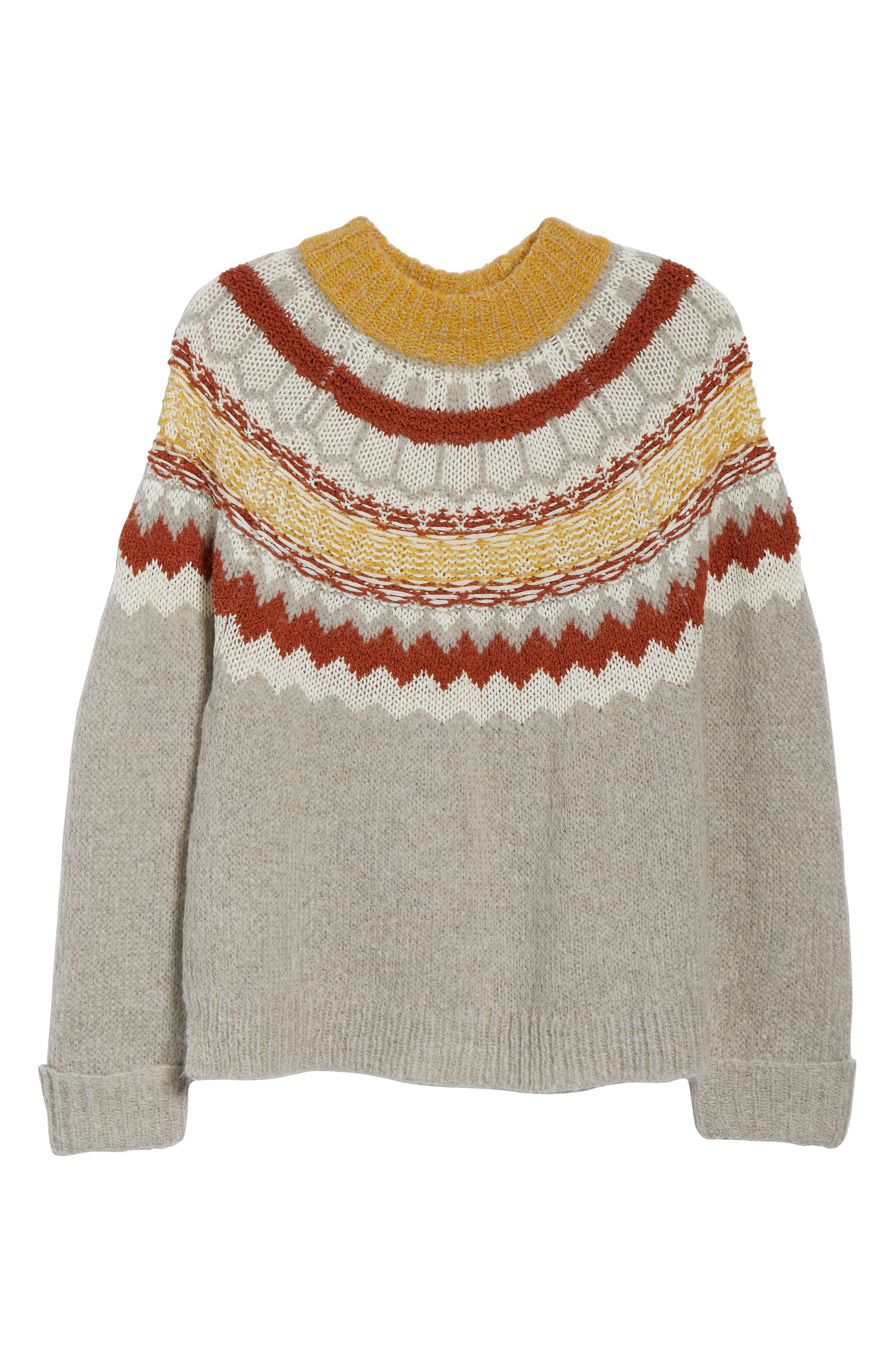 Chunky Jacquard Sweater,                             Alternate thumbnail 6, color,                             TAN FOLIAGE PATTERN