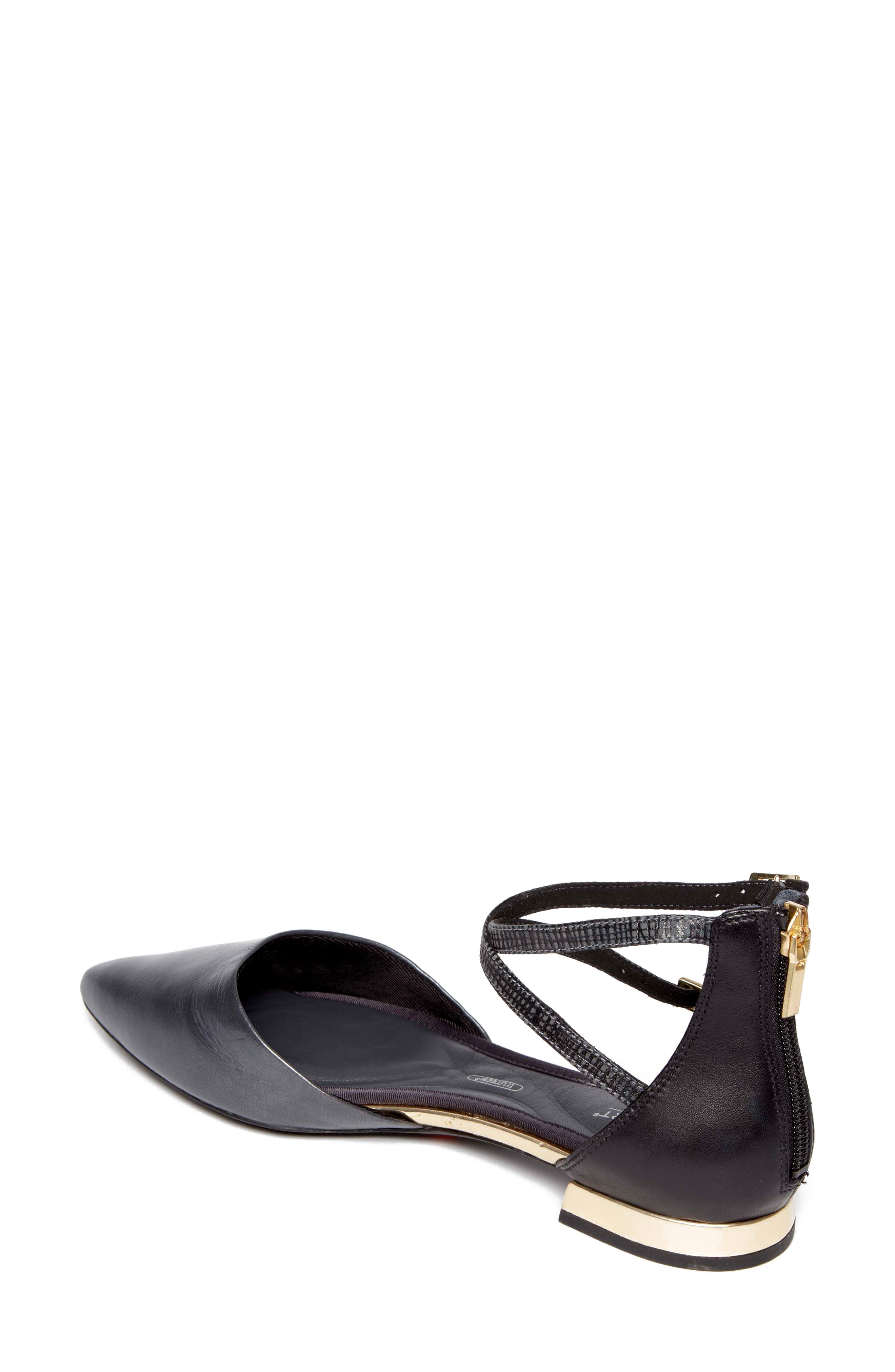 Total Motion<sup>®</sup> Zuly Luxe Ankle Strap Flat,                             Alternate thumbnail 2, color,                             BLACK LEATHER
