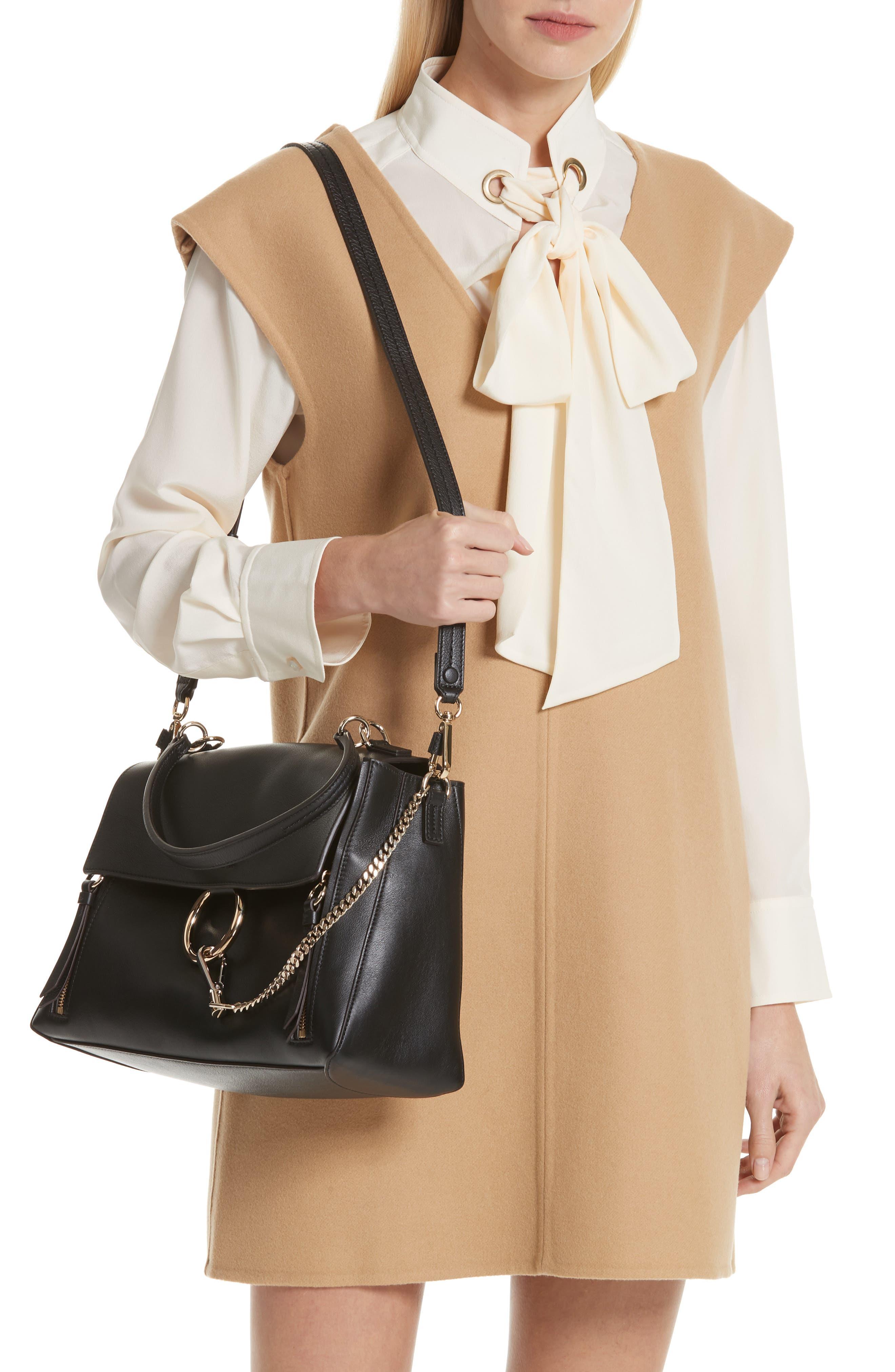 Medium Faye Leather Shoulder Bag,                             Alternate thumbnail 4, color,                             BLACK