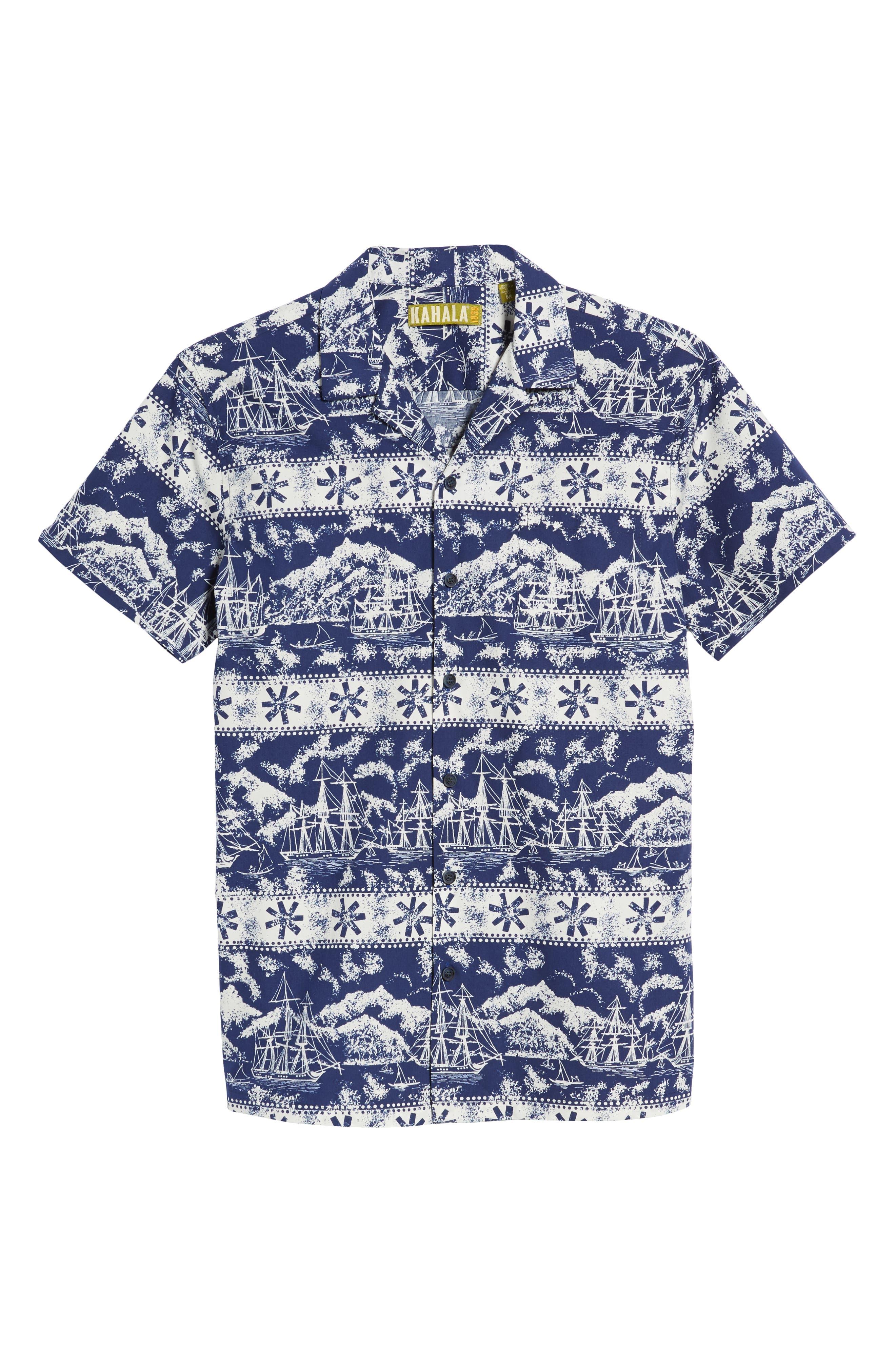 Safe Harbor Slim Fit Camp Shirt,                             Alternate thumbnail 6, color,                             415