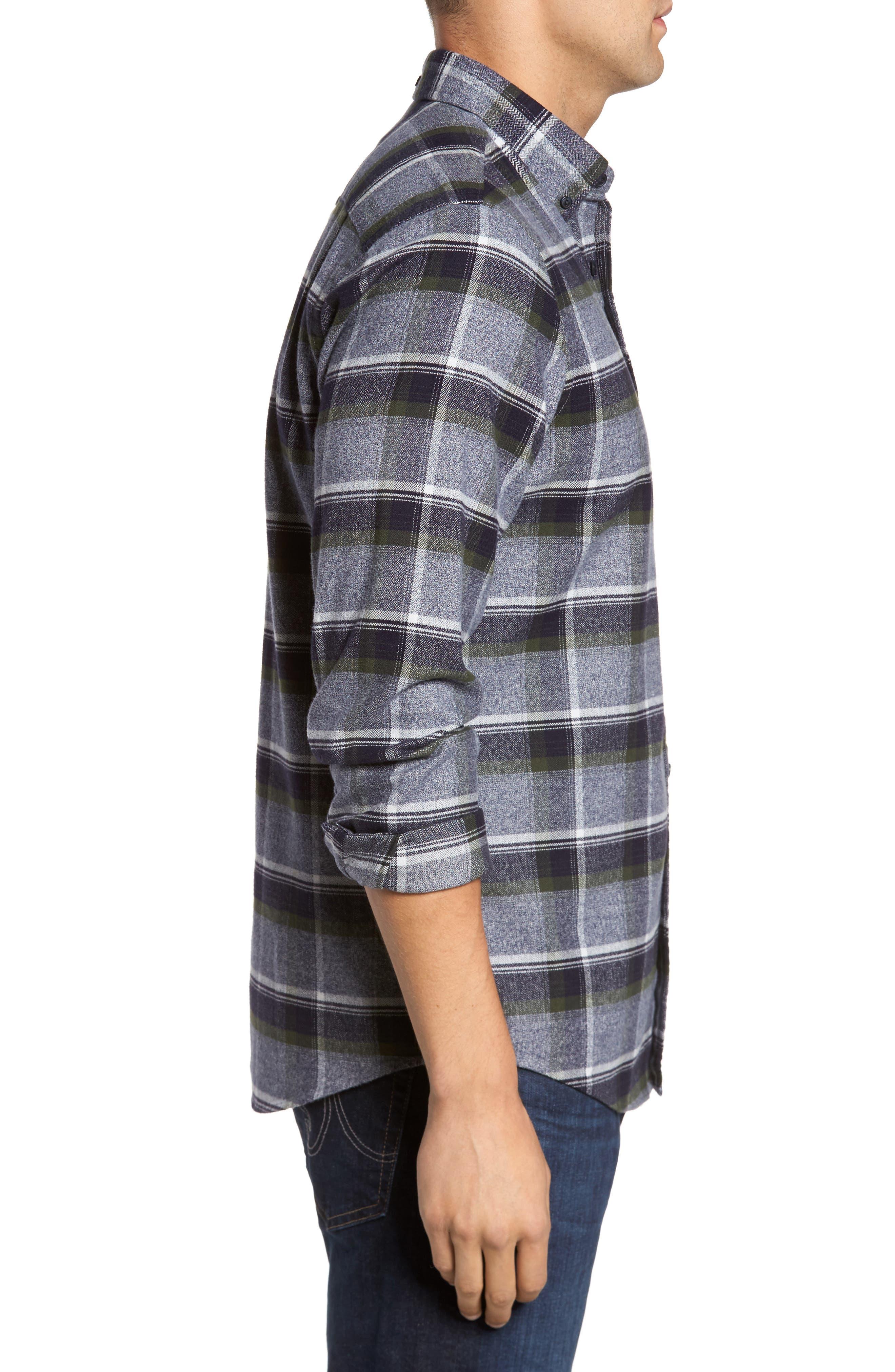 Regular Fit Plaid Flannel Shirt,                             Alternate thumbnail 3, color,