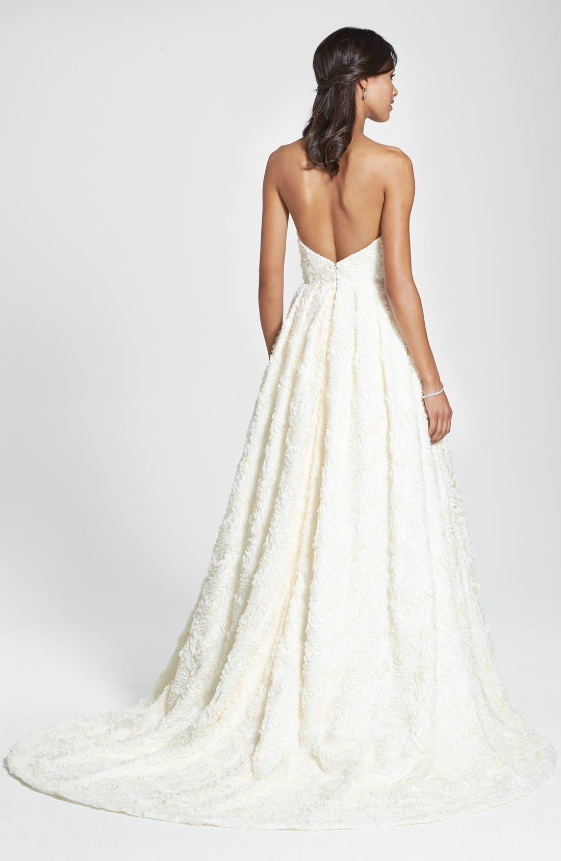 Delia Rosette Silk Blend Lace Chiffon Dress,                             Alternate thumbnail 4, color,