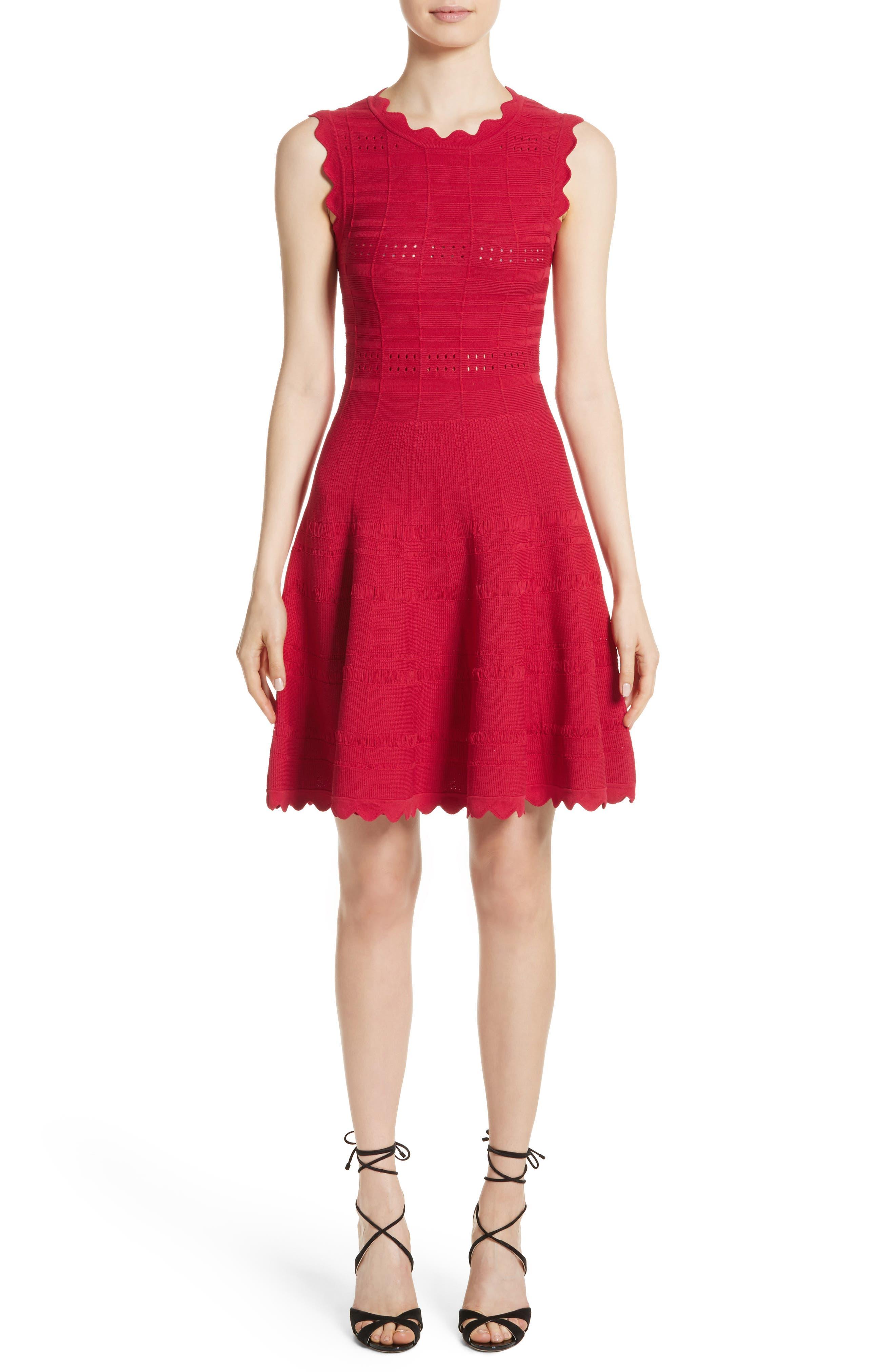 Scallop Trim Knit Dress,                             Main thumbnail 1, color,                             620