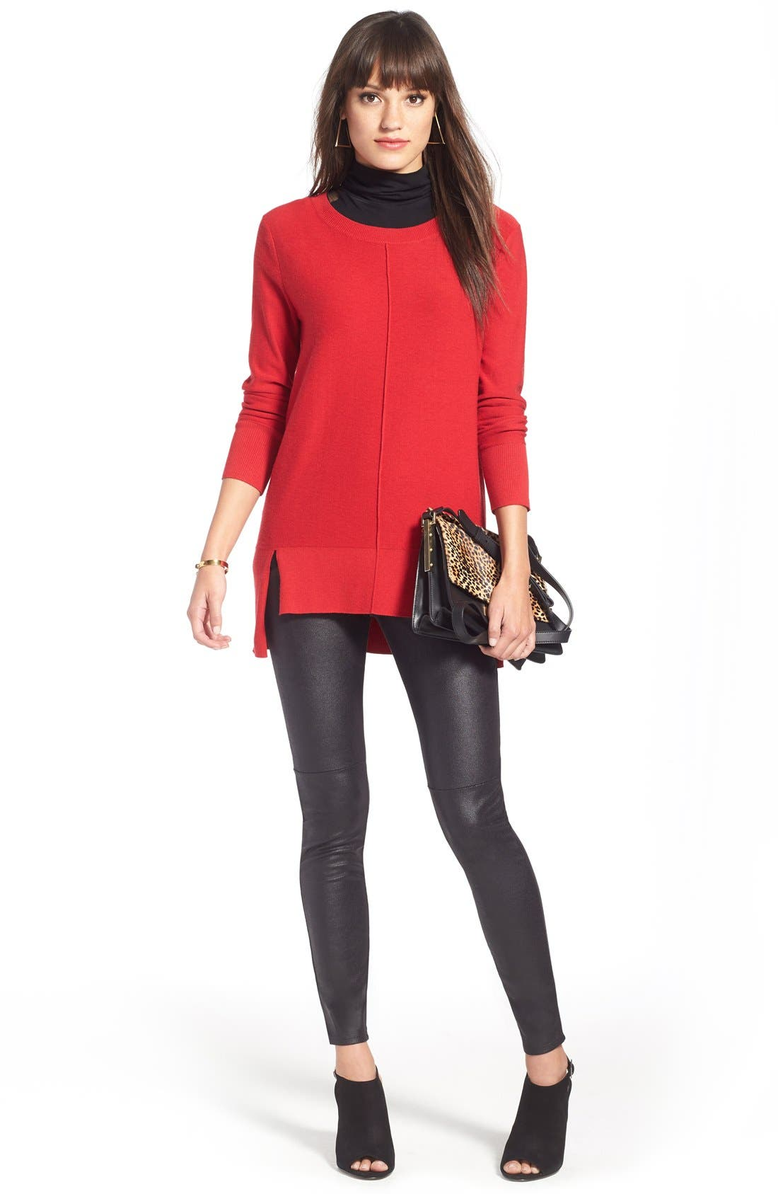 Faux Leather Leggings,                             Alternate thumbnail 11, color,                             001