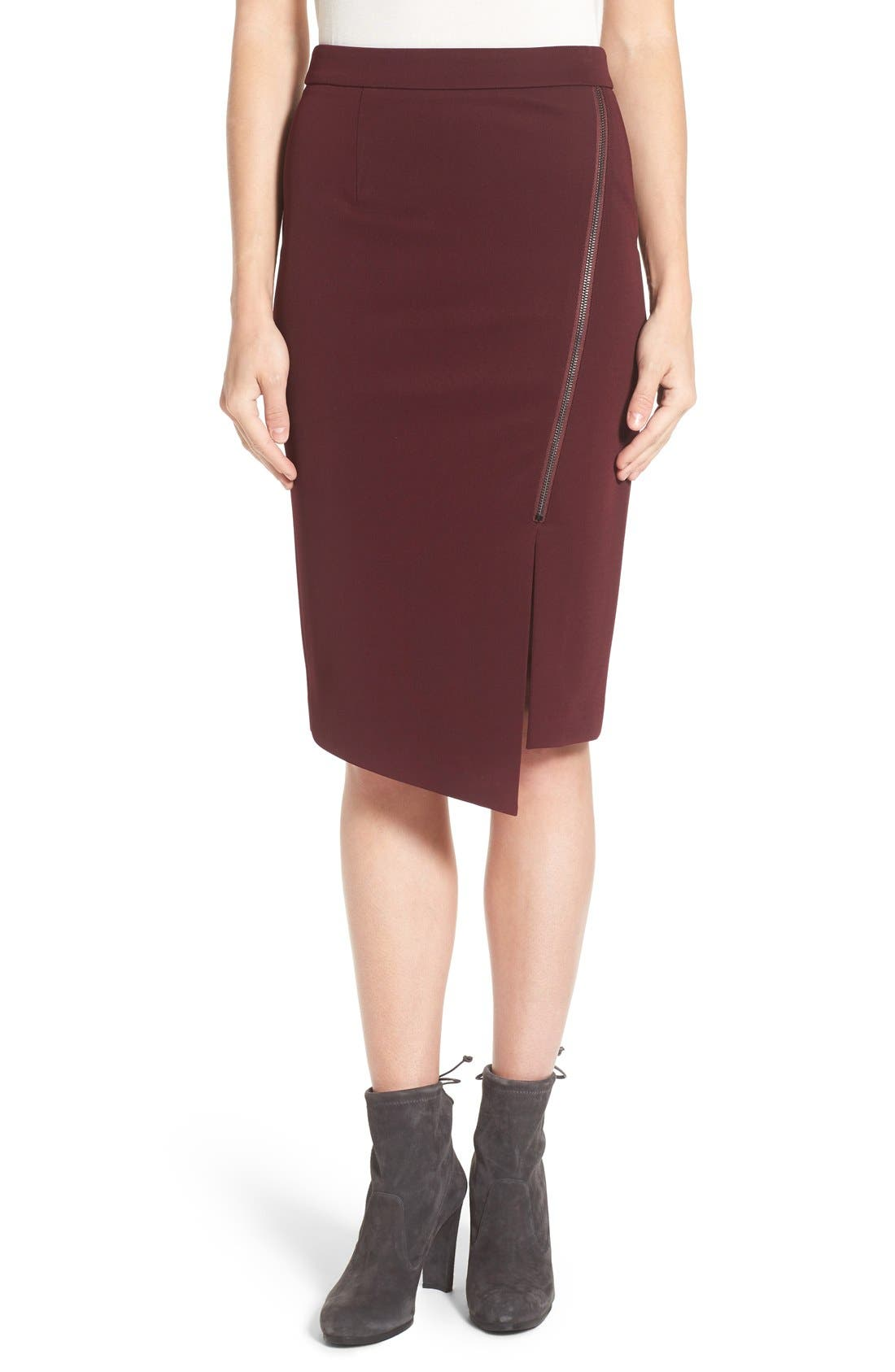 Asymmetrical Zip Pencil Skirt,                             Main thumbnail 4, color,