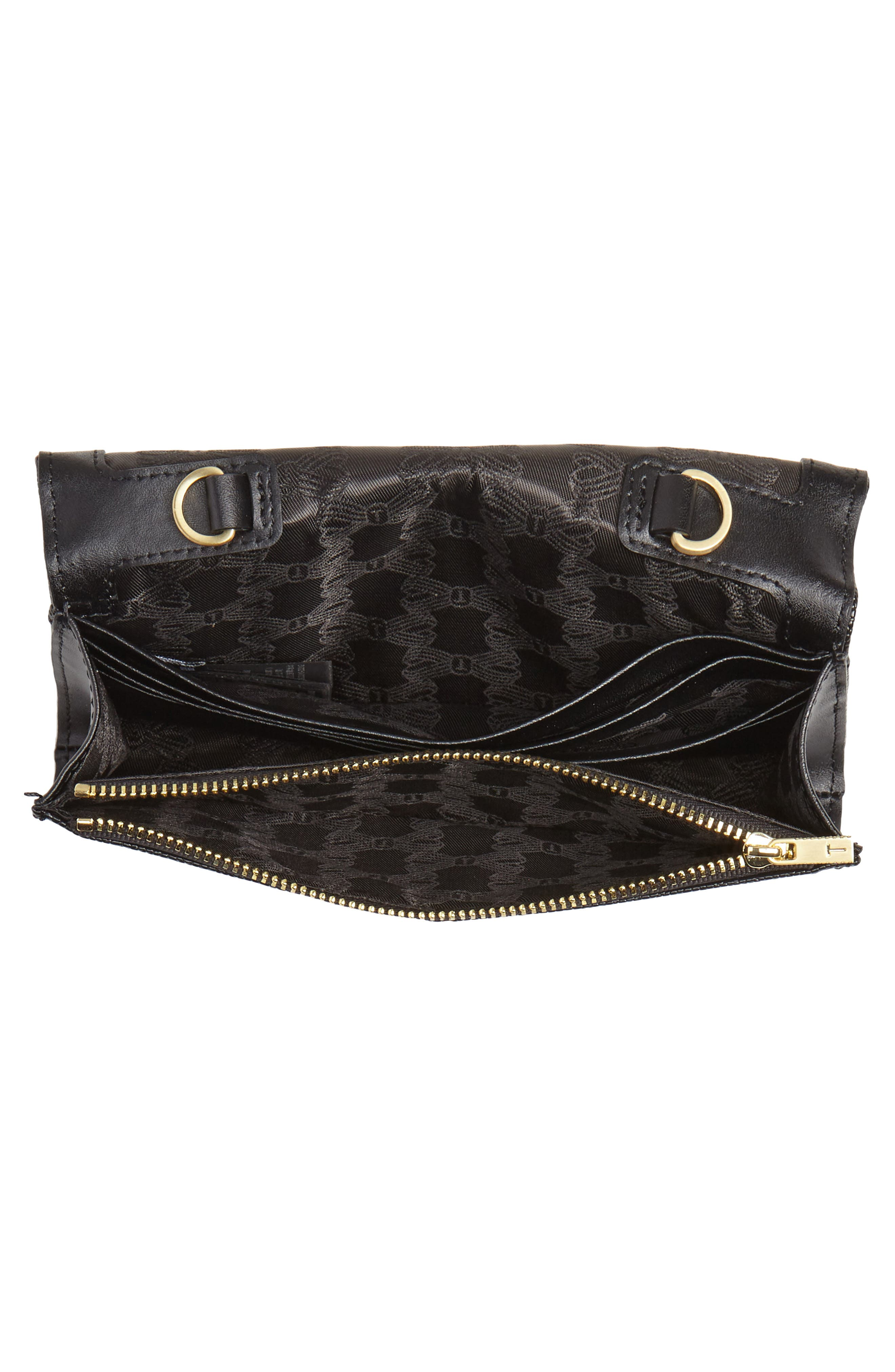 Alaine Crossbody Leather Matinée Wallet on a Chain,                             Alternate thumbnail 4, color,                             BLACK